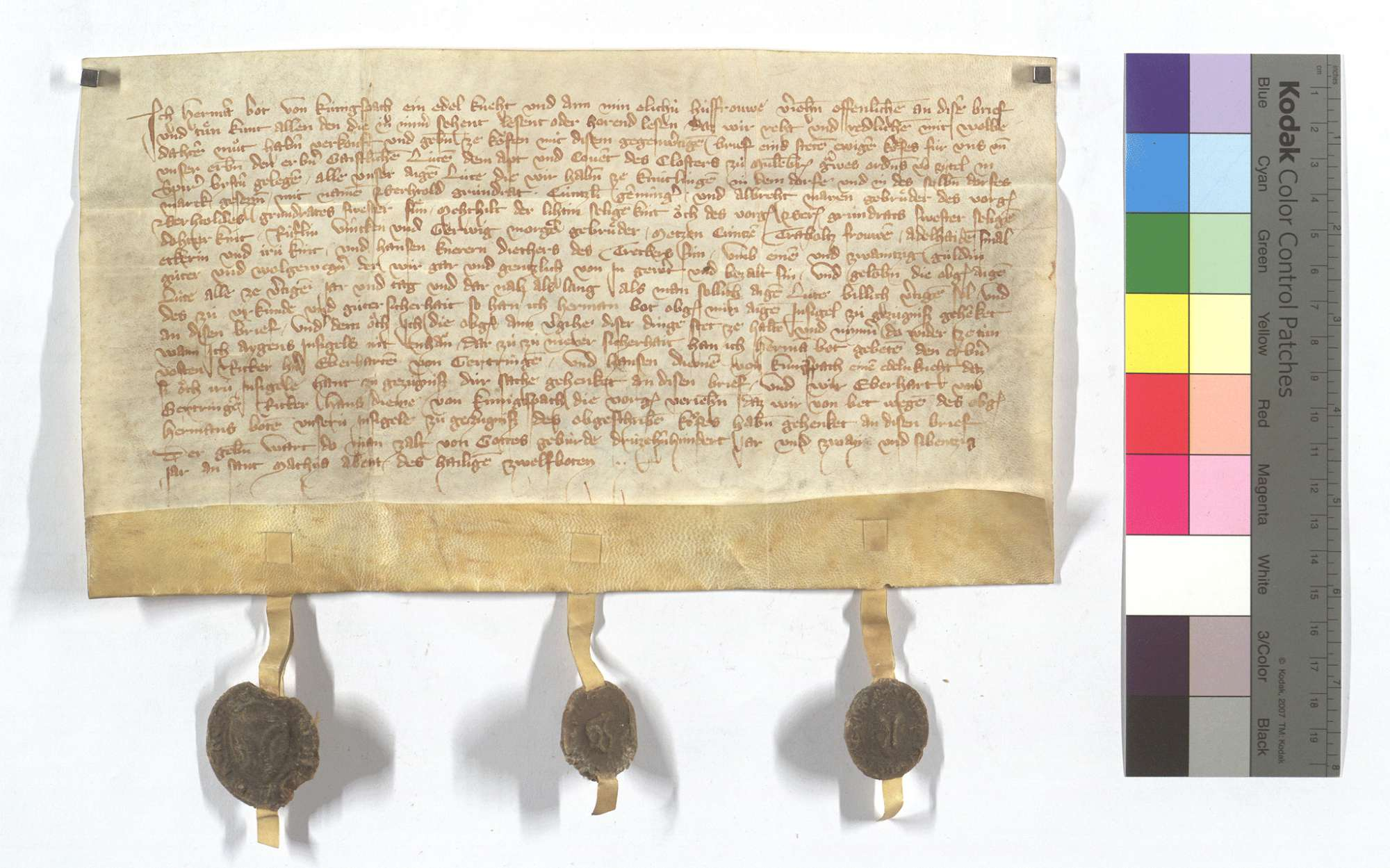 Fertigung des Herman Bot von Königsbach um seinen Leibeigenen in Knittlingen., Text