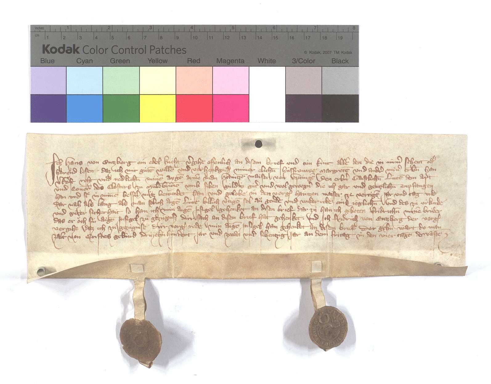 Fertigung Hans von Enzbergs um einen Leibeigenen zu Iptingen., Text