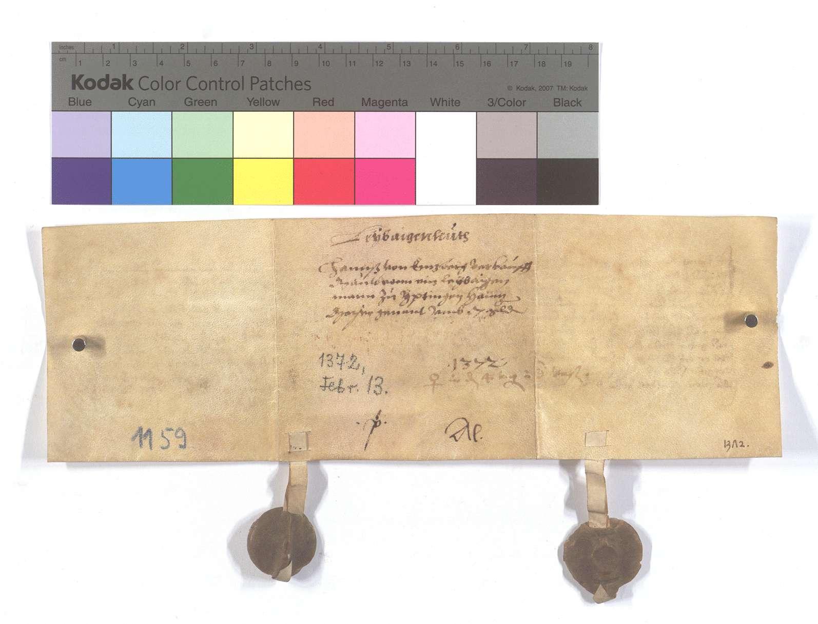 Fertigung Hans von Enzbergs um einen Leibeigenen zu Iptingen., Rückseite