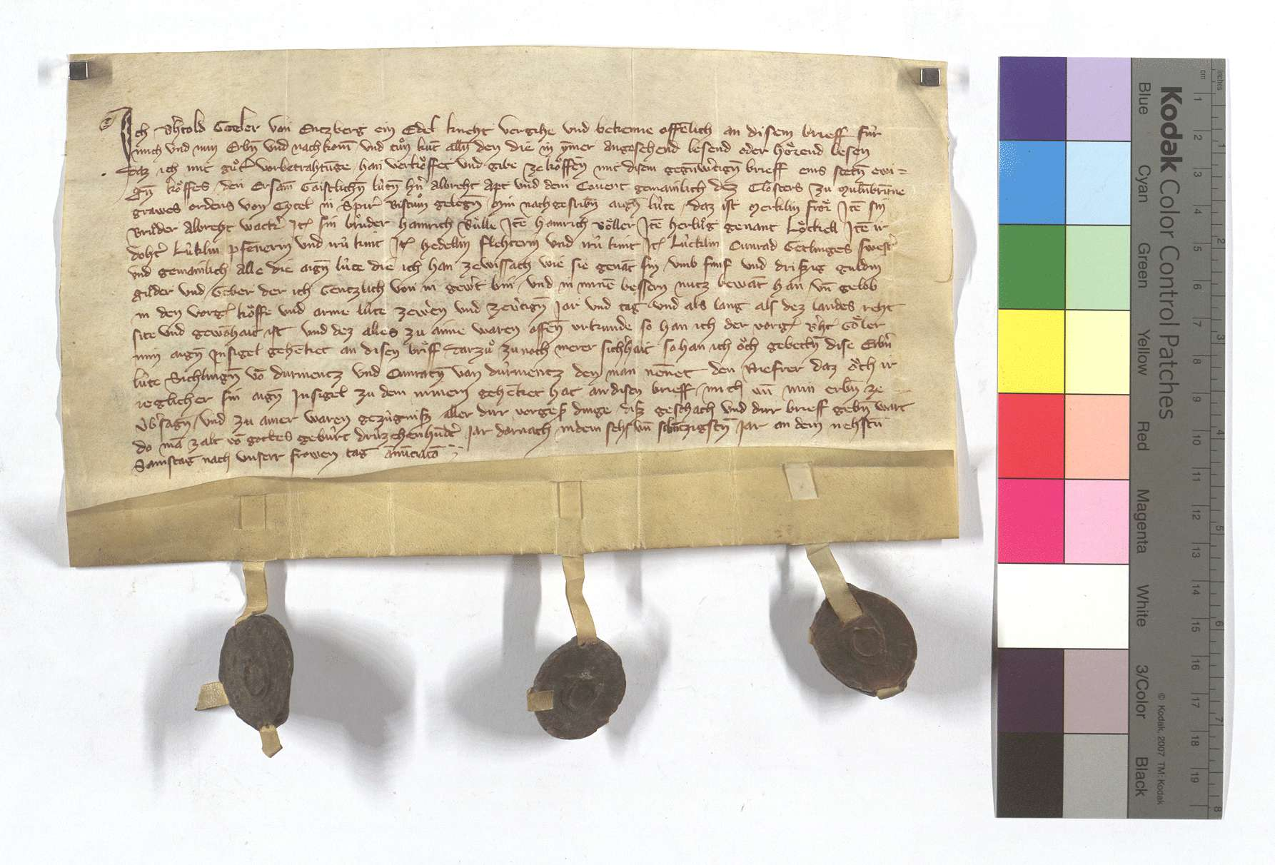 Fertigung des Berthold (Berhtold) Goler von Enzberg gegen das Kloster Maulbronn um seine Leibeigenen in Weissach., Text