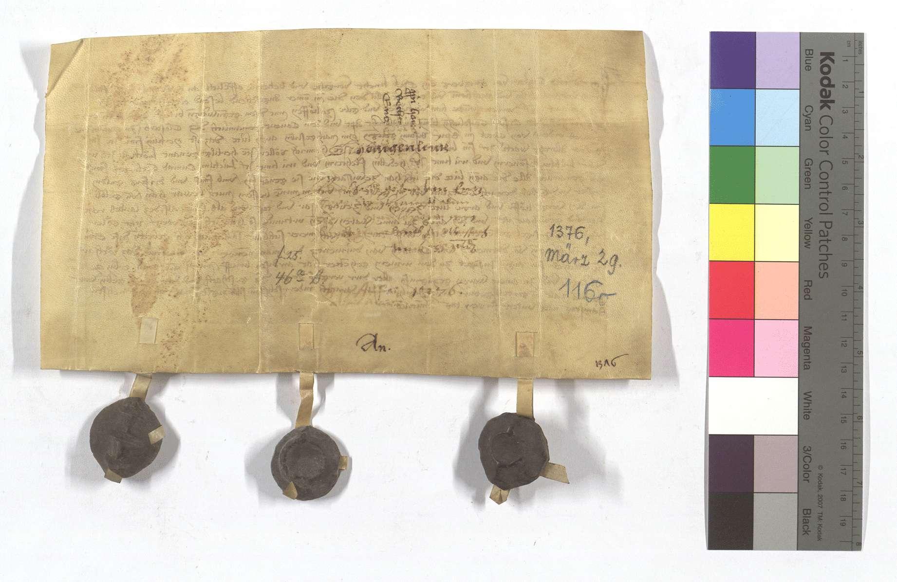 Fertigung des Berthold (Berhtold) Goler von Enzberg gegen das Kloster Maulbronn um seine Leibeigenen in Weissach., Rückseite