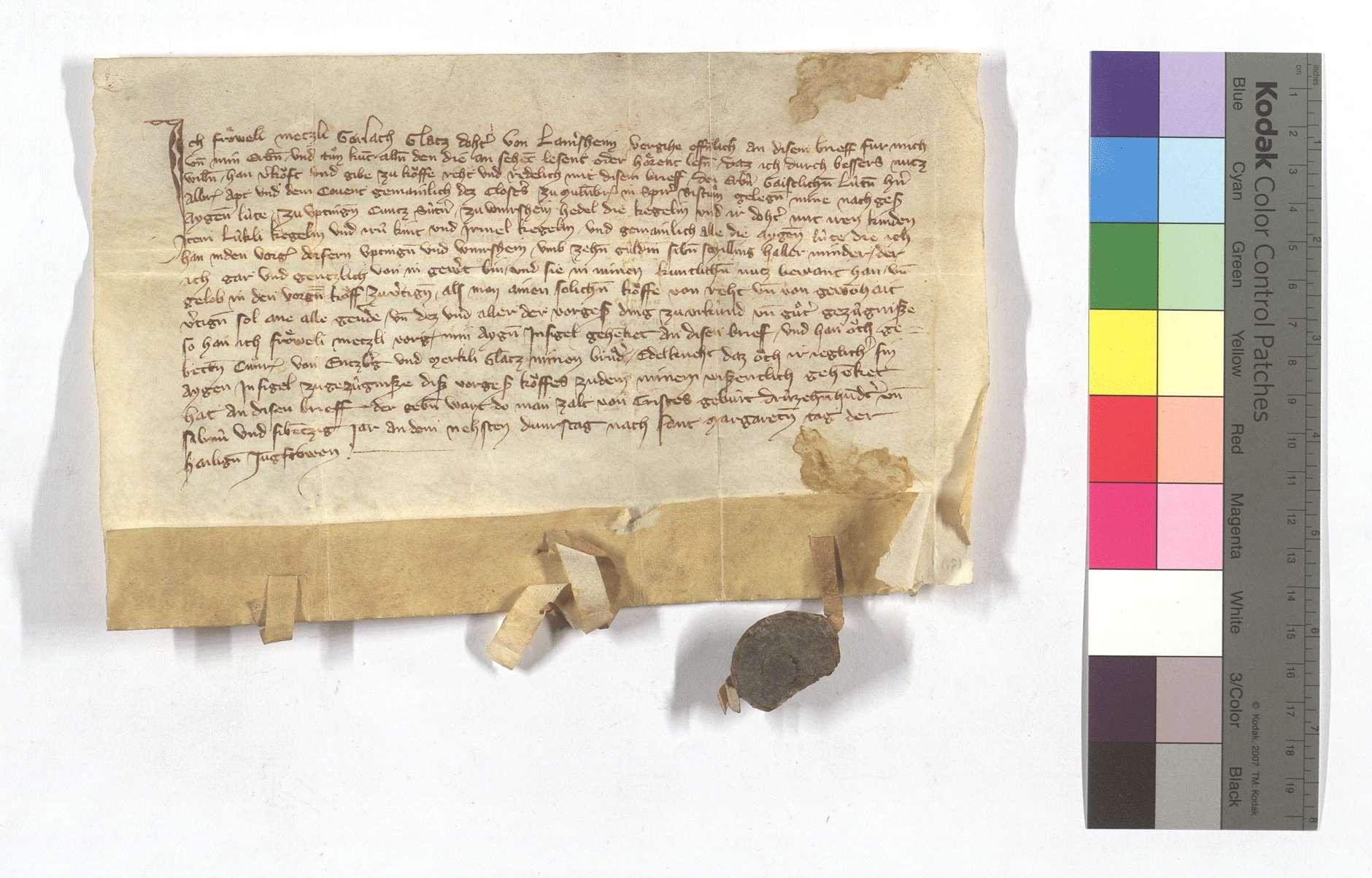 Fertigung der Mezli, Tochter des Gerlach Glatz, um ihre Leibeigenen in Iptingen und Wiernsheim., Text