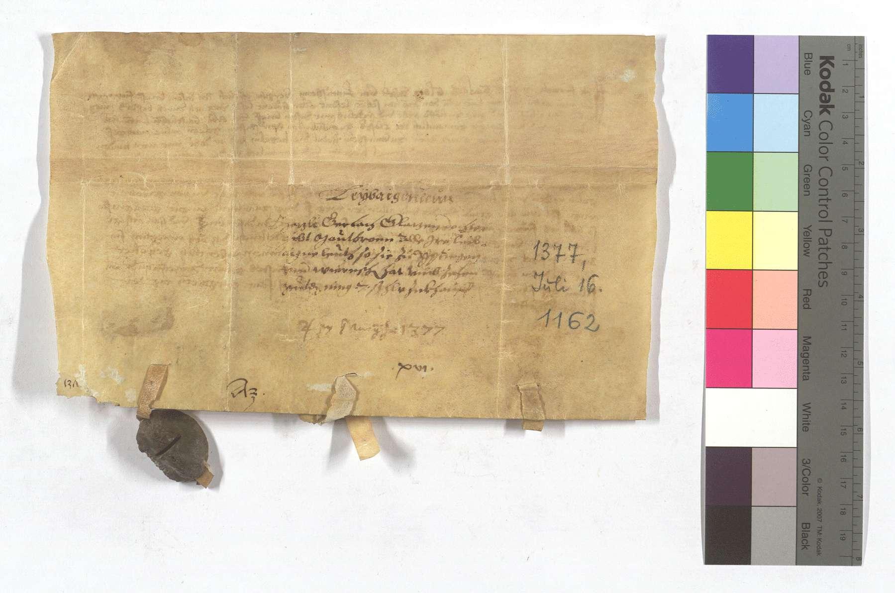 Fertigung der Mezli, Tochter des Gerlach Glatz, um ihre Leibeigenen in Iptingen und Wiernsheim., Rückseite