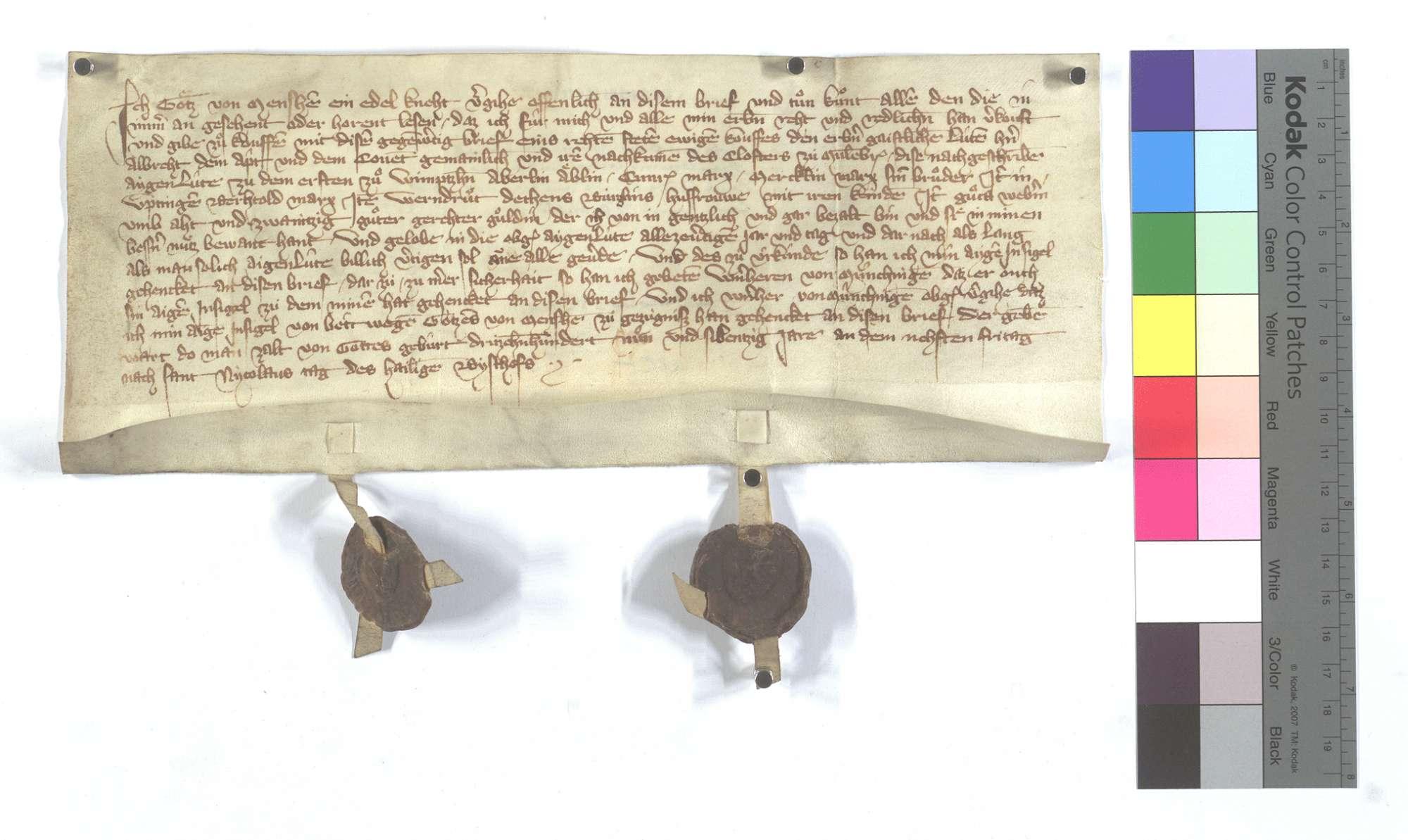 Fertigung des Götz von Mönsheim (Mensheim) um etliche Leibeigene in Iptingen und Wimsheim (Wimbsheim)., Text