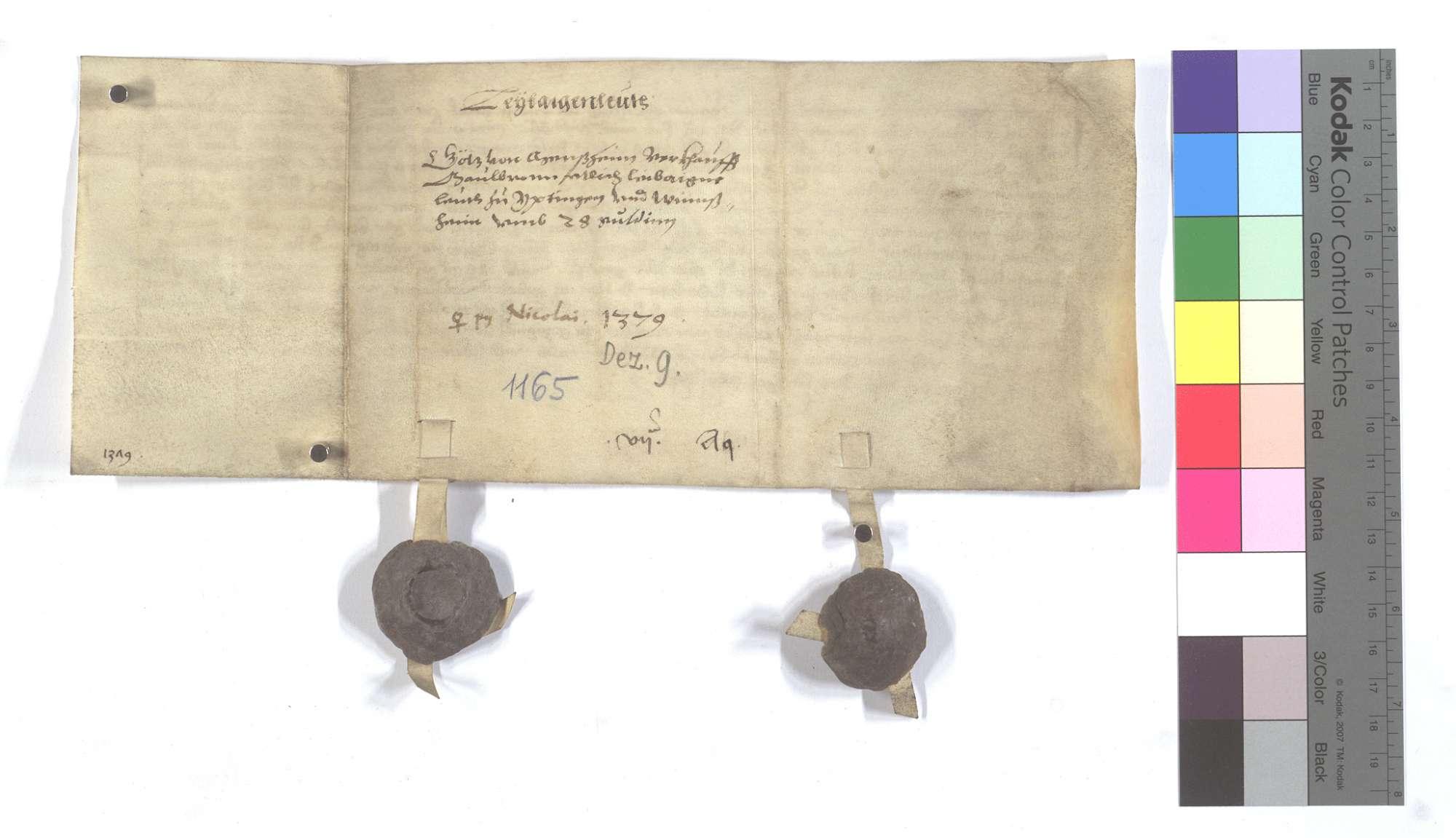 Fertigung des Götz von Mönsheim (Mensheim) um etliche Leibeigene in Iptingen und Wimsheim (Wimbsheim)., Rückseite
