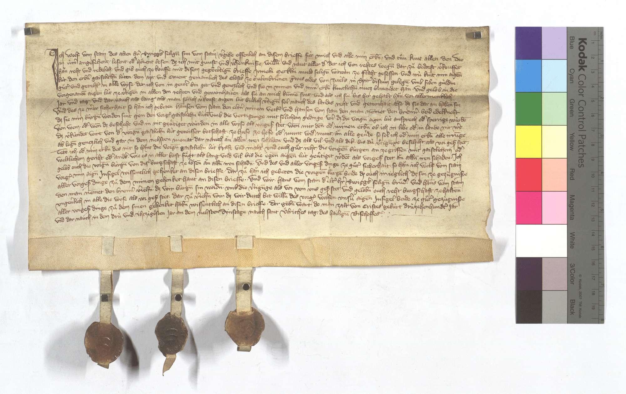 Fertigung des Wolf vom Stein um eine leibeigene Frau und ihre Kinder in Flacht., Text