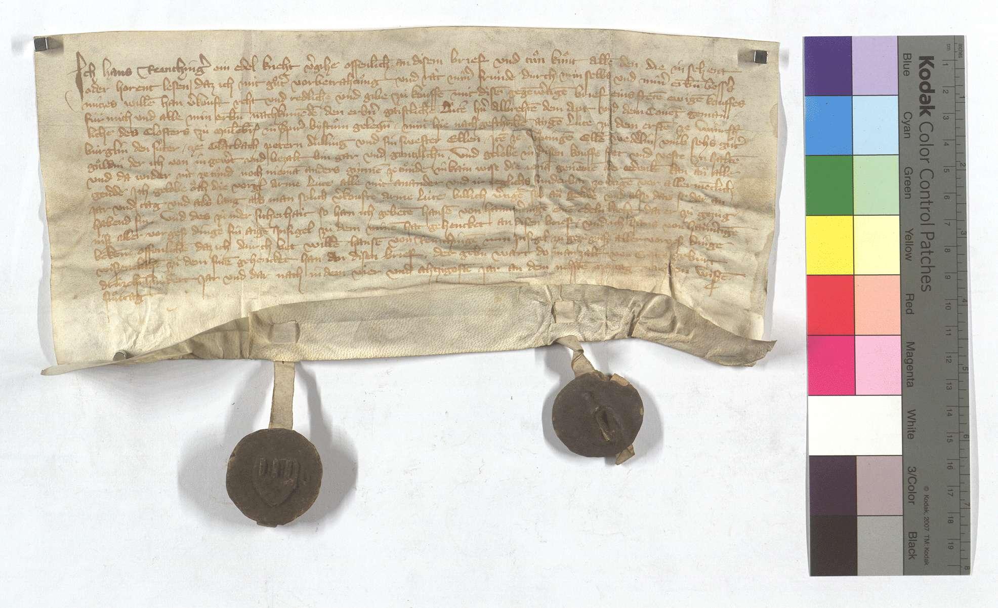 Fertigung Hans Remchingers um seine Leibeigenen in Wiernsheim, Glattbach (Glatbach) und Iptingen., Text