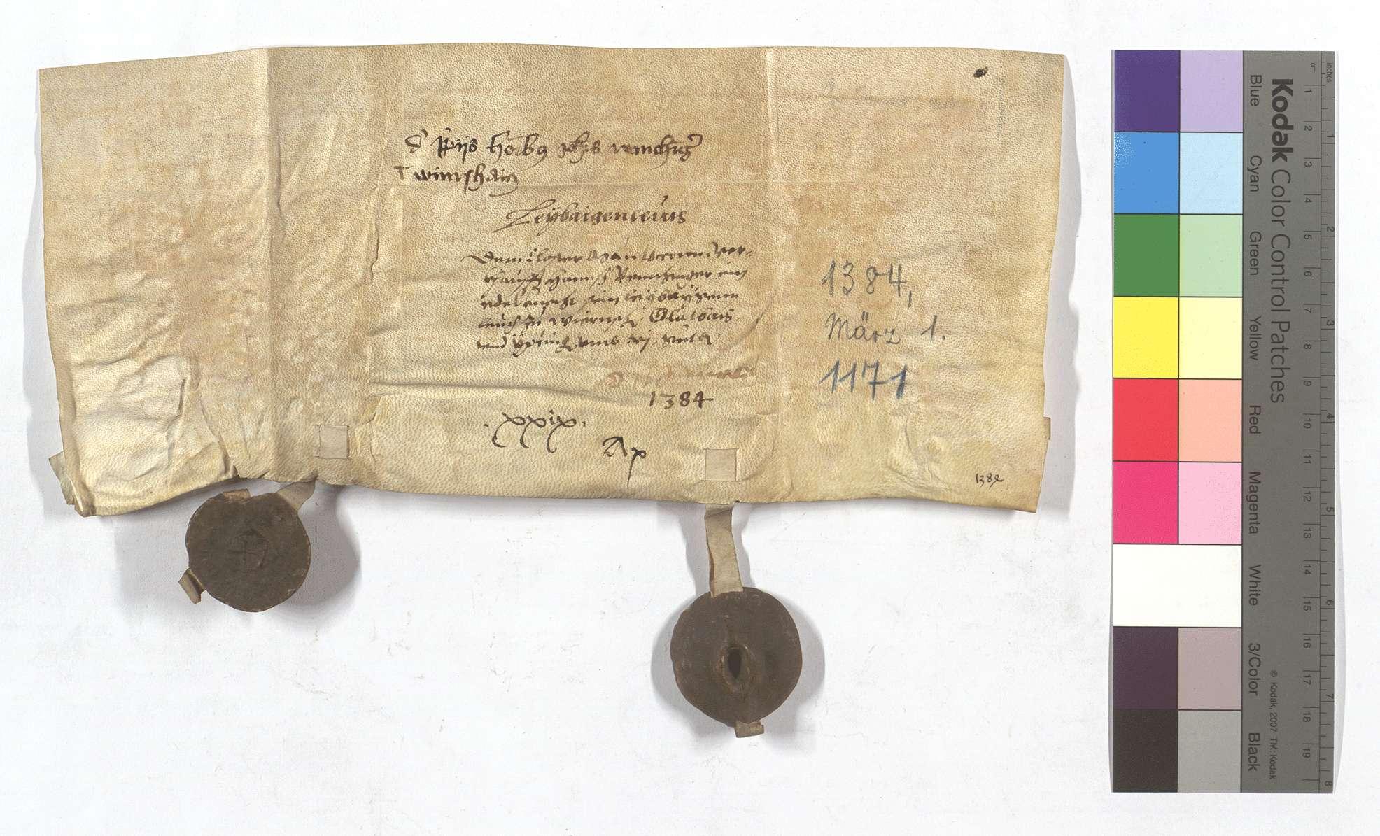 Fertigung Hans Remchingers um seine Leibeigenen in Wiernsheim, Glattbach (Glatbach) und Iptingen., Rückseite
