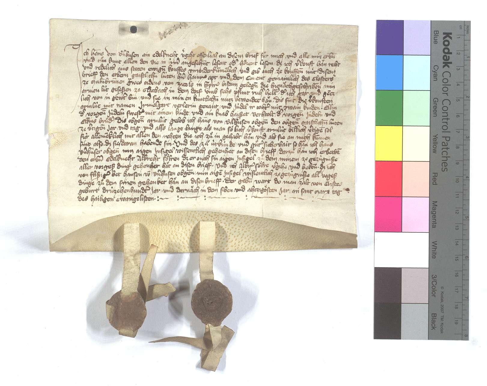 Fertigung des Hans von Bernhausen (Bernhusen) um seine Leibeigenen in Glattbach (Glatbach)., Text