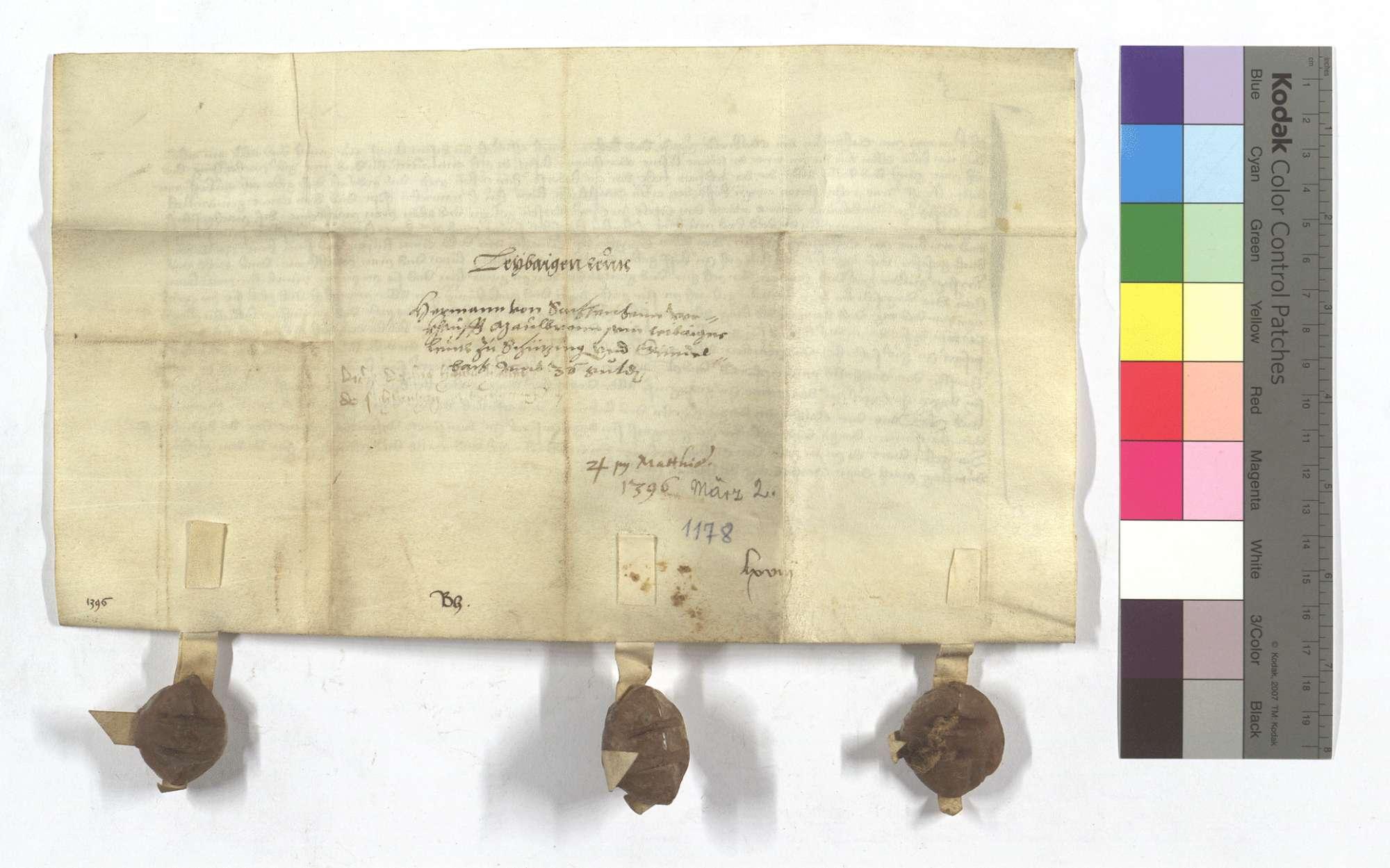 Fertigung des Hermann von Sachsenheim um seine Leibeigenen in Schützingen (Schüzingen) und Gündelbach., Rückseite