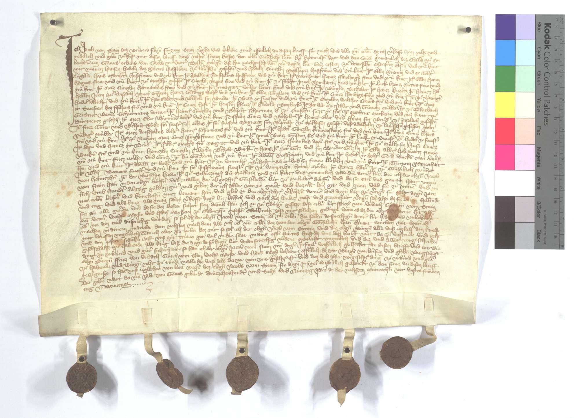 Fertigung des Jacob vom Stein um seine Leibeigenen in Wiernsheim, Flacht, Weissach, Glattbach (Glatbach), Niefern, Wurmberg und Gündelbach., Text