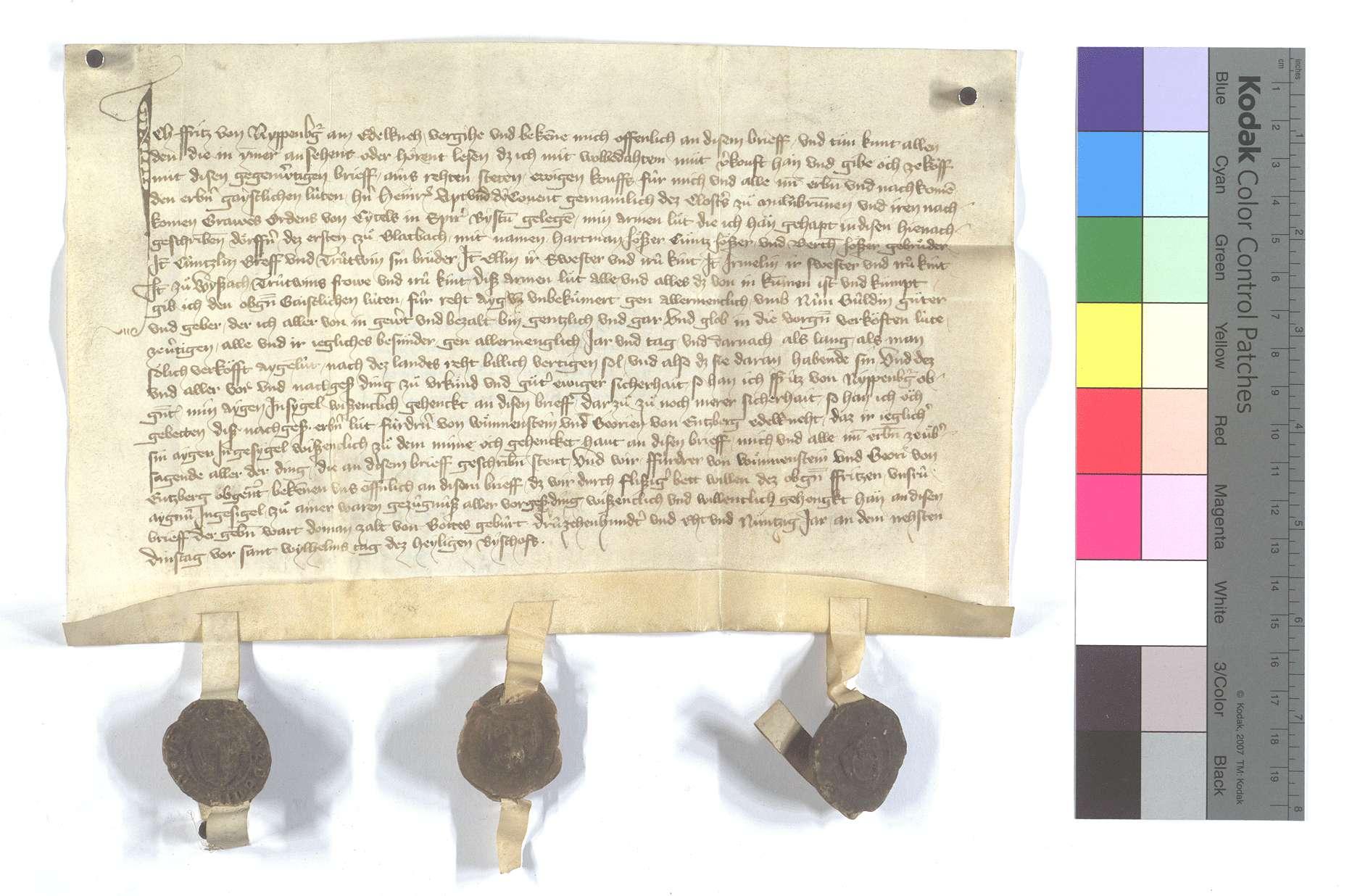 Fritz von Nippenburg verkauft alle seine namentlich genannten Eigenleute in Glattbach (Glatbach) und Weissach., Text
