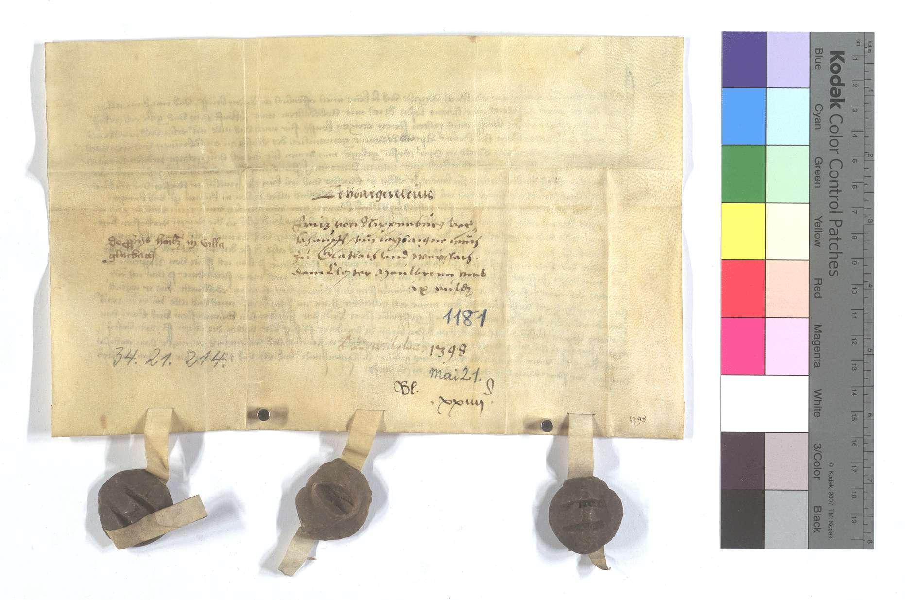 Fritz von Nippenburg verkauft alle seine namentlich genannten Eigenleute in Glattbach (Glatbach) und Weissach., Rückseite