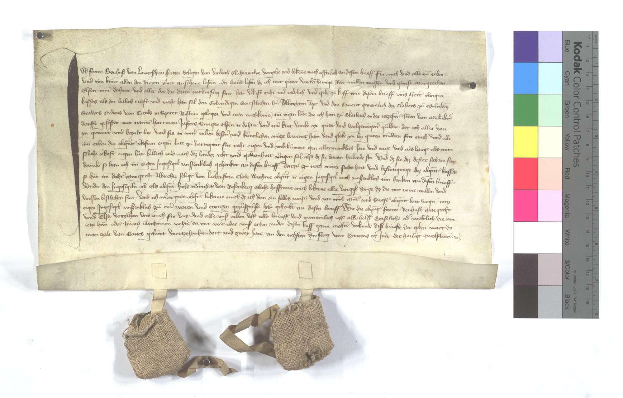 Benhuse von Lomersheim, die Witwe des Fritz von Urbach, verkauft dem Kloster Maulbronn ihre Eigenleute in Glattbach (Glatbach)., Text