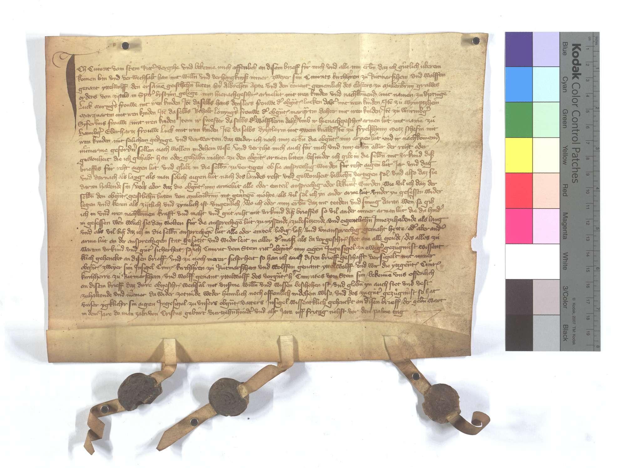 Fertigung des Conrad vom Stein, als er dem Kloster Maulbronn seine Leibeigenen in Iptingen, Wimsheim (Wimbsheim) und Wurmberg gegen dessen Leibeigene in Hamberg und Friolzheim (Friolsheim) verkauft., Text