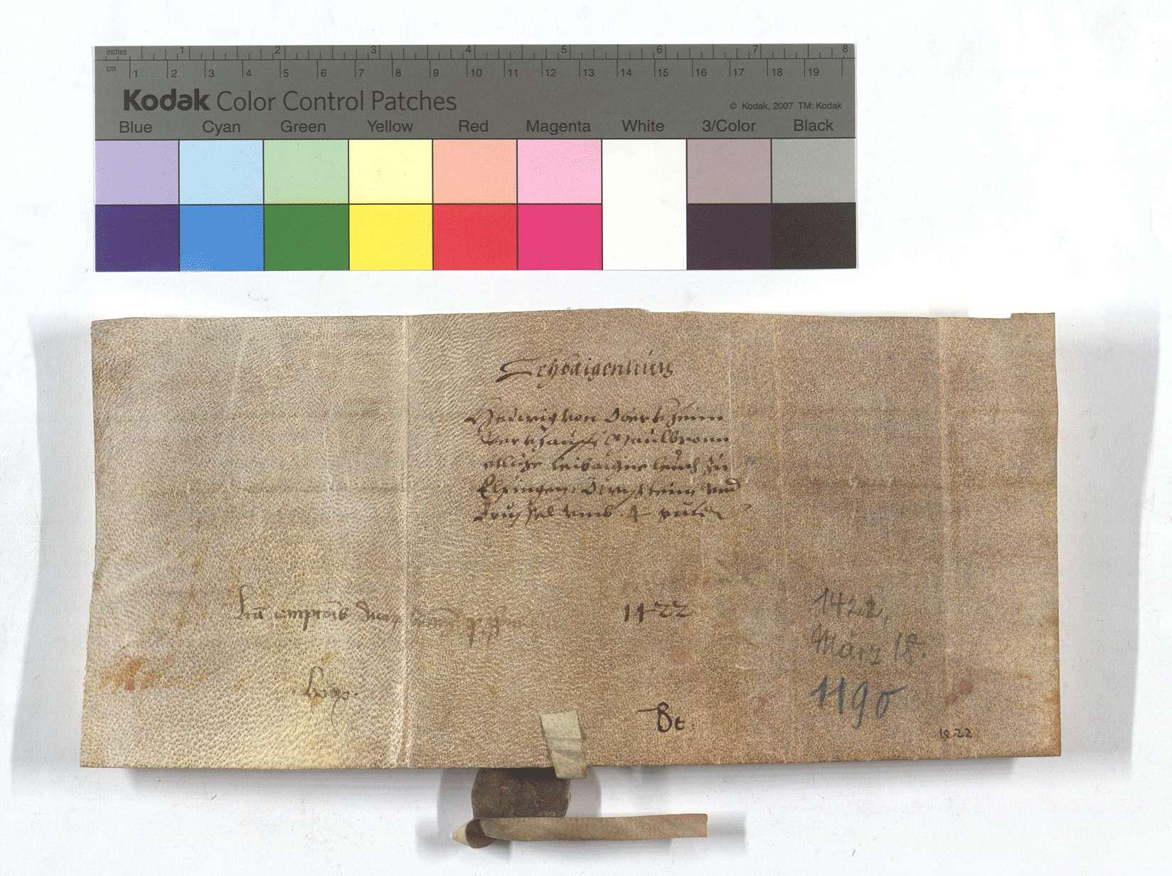 Fertigung der Hedwig von Obrigheim (Öberkein) um ihre Leibeigenen in Flehingen, Unteröwisheim (Öwisheim) und Bruchsal., Rückseite