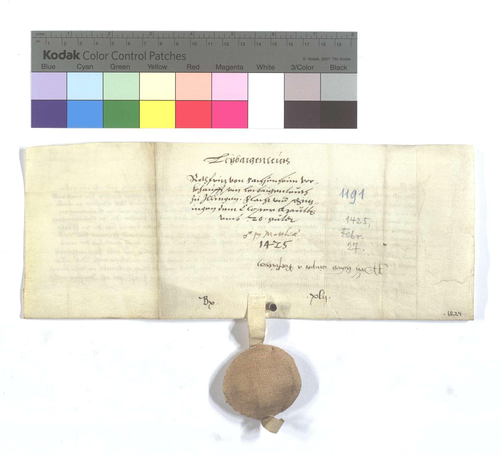 Fertigung des Fritz von Sachsenheim, genannt Rotfritz, um etliche Leibeigene in Illingen, Flacht und Schützingen (Schüzingen)., Rückseite