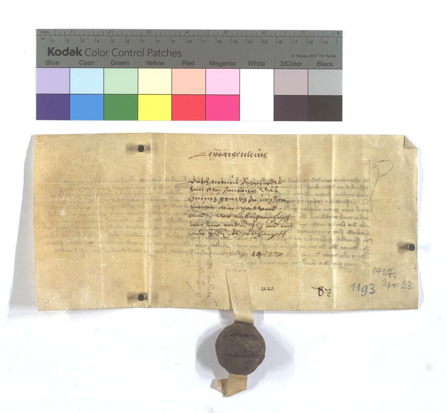 Bekenntnis Bernhards von Massenbach, dass Heinz Grack von Zaisenhausen sich von der Leibeigenschaft losgekauft hat., Rückseite