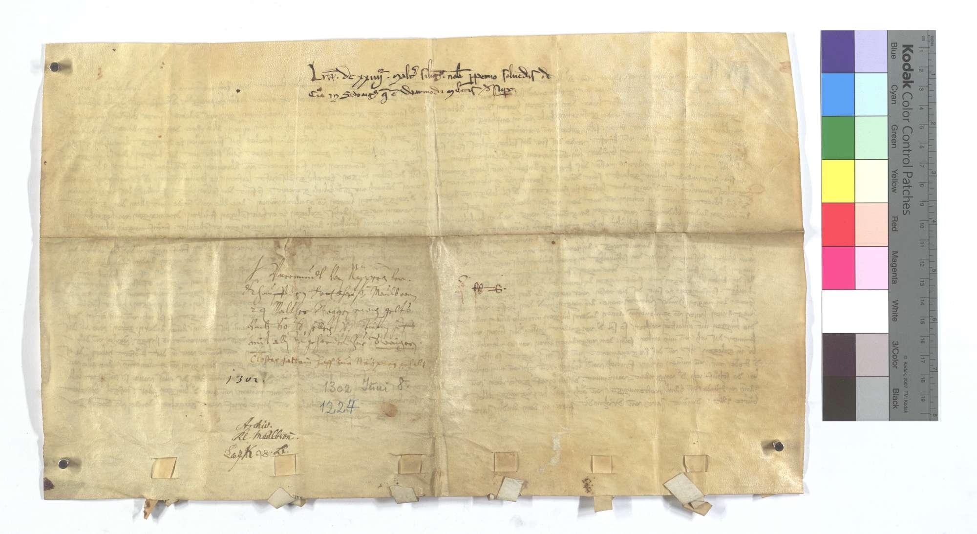 Warmund von Neipperg verkauft dem Kloster Maulbronn 24 Malter Roggen ewige Gült aus seinem Hof zu Schwaigern., Rückseite