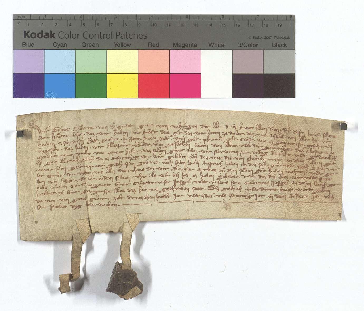 Konrad von Vaihingen der Ältere verkauft dem Kloster Maulbronn das ihm von Albrecht von Horrheim angefallene Gut zu Weiler., Text
