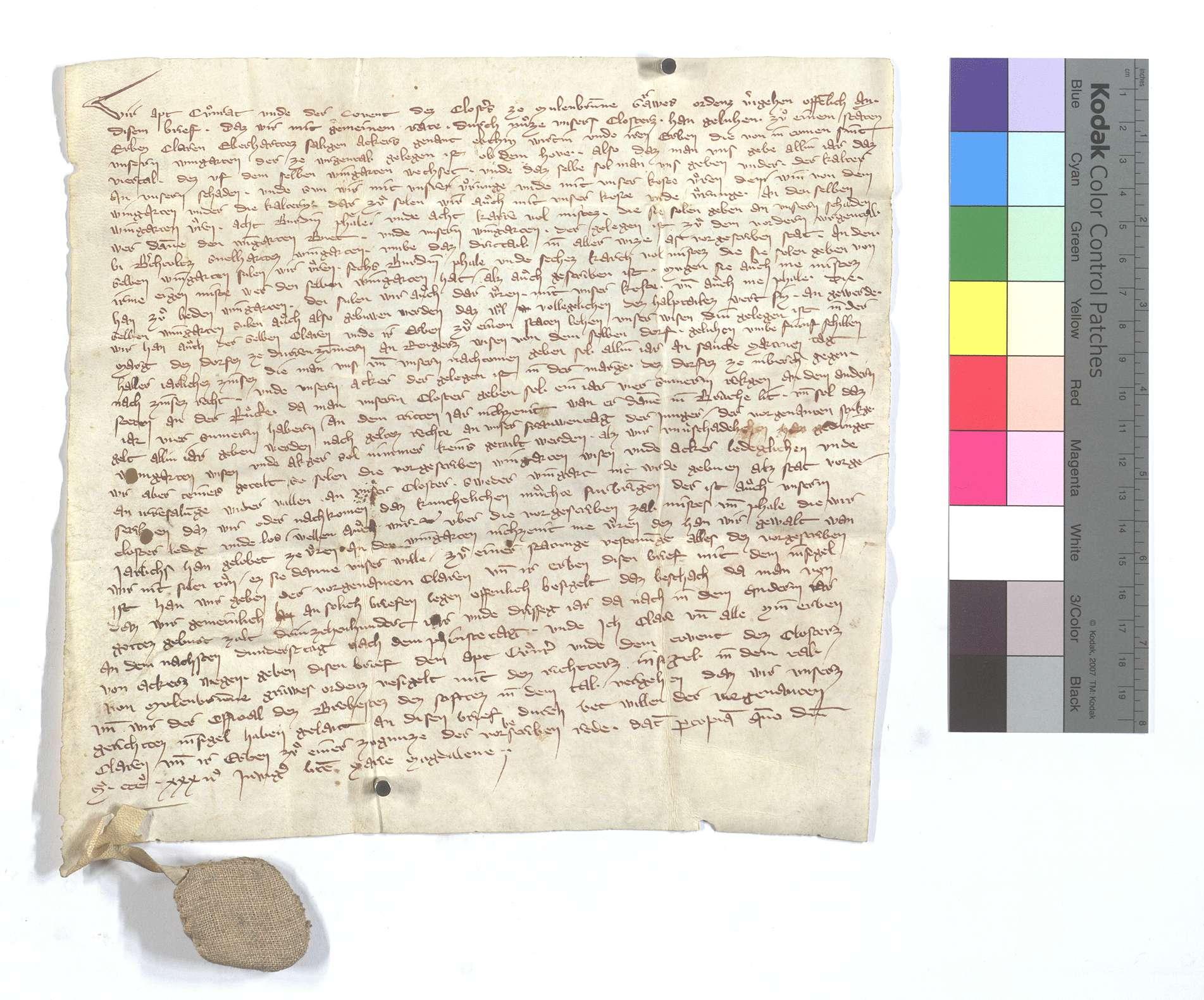 Lehensbrief des Abts Konrad von Maulbronn für Clara, Eberhard Ackers Frau, um den Weingarten in Weigental (Wegental) ob dem Hofe., Text