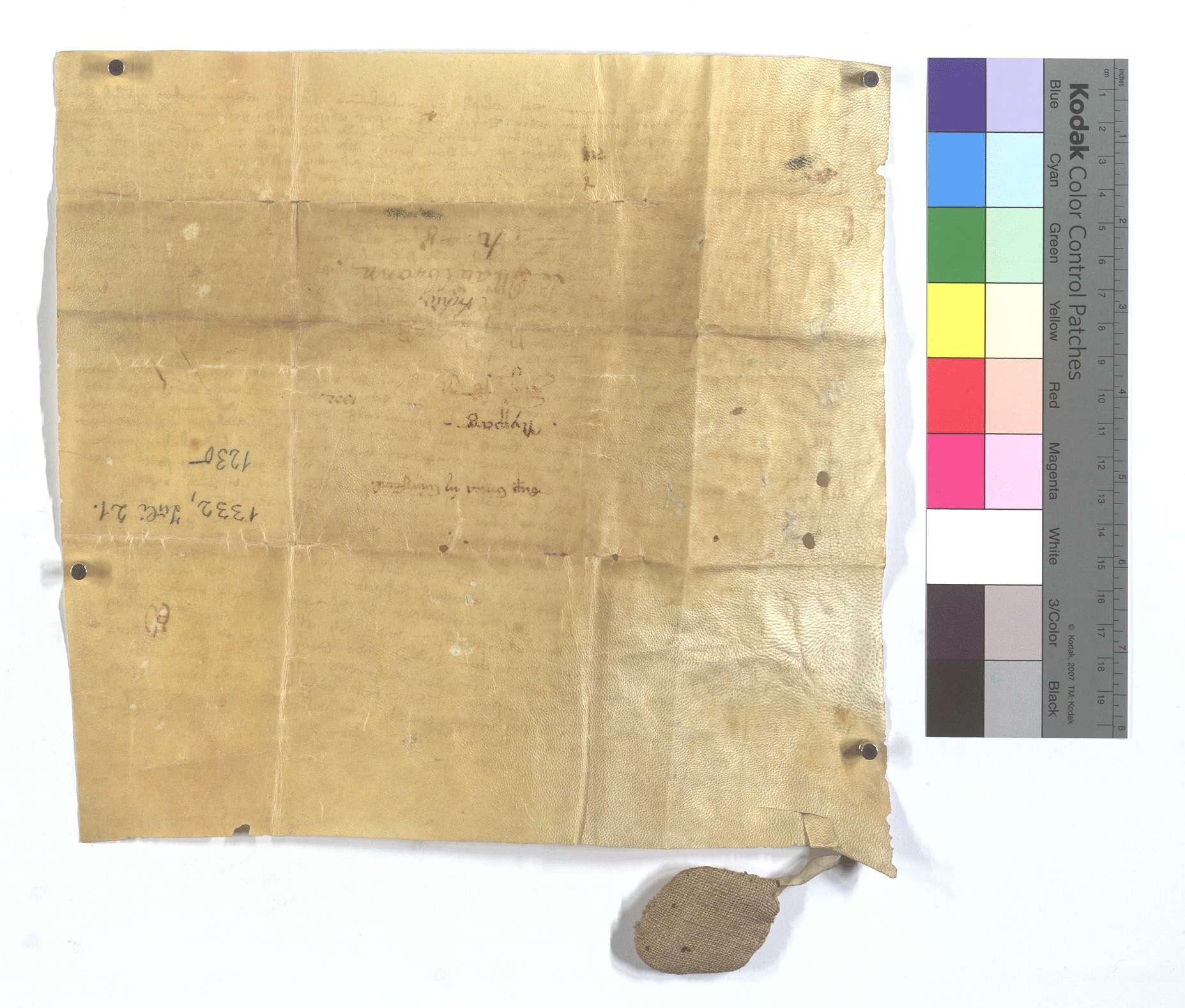 Lehensbrief des Abts Konrad von Maulbronn für Clara, Eberhard Ackers Frau, um den Weingarten in Weigental (Wegental) ob dem Hofe., Rückseite