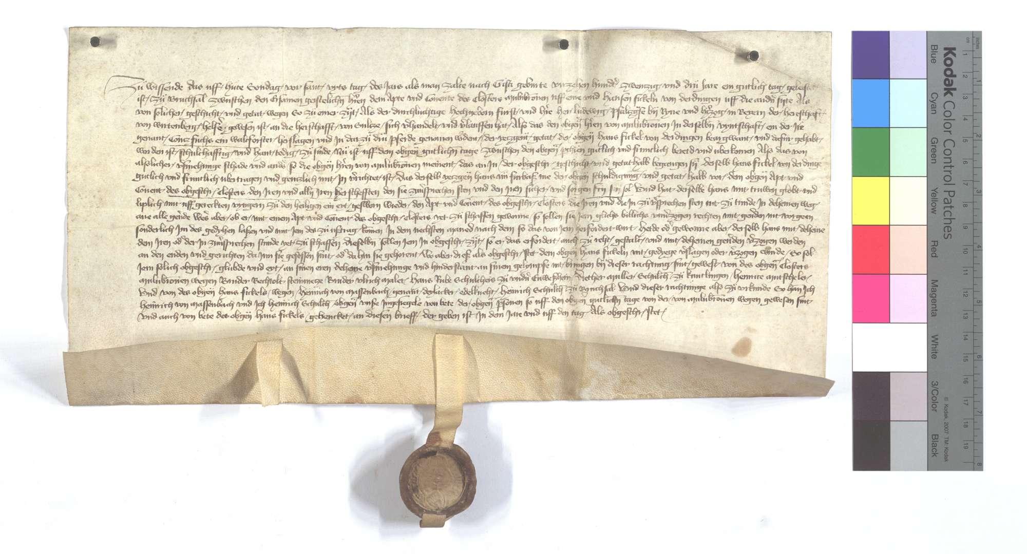 Abt und Konvent des Klosters Maulbronn einerseits und Hans Fickel von Derdingen andererseits einigen sich im Fall eines Raubmords, den Hans Fickel an Contz Fuchs, dem Waldförster des Klosters, begangen haben soll., Text