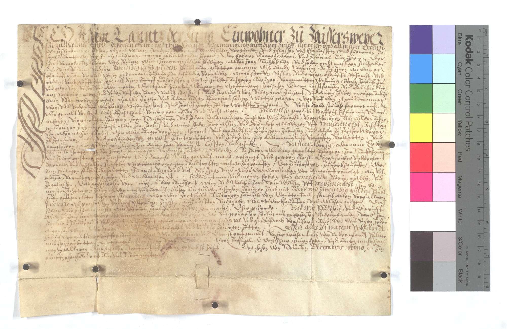 Verschreibung des Adam Lanz um 1 Gulden 18 Kreuzer auf Weihnachten., Text