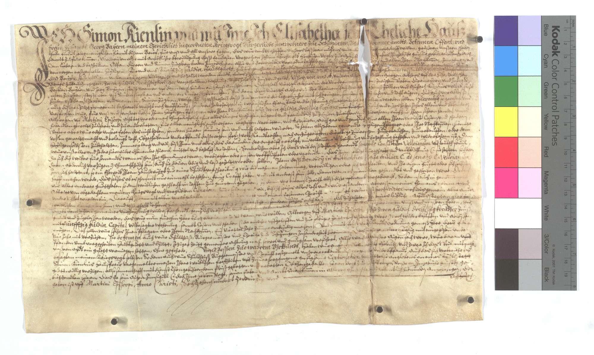 Verschreibung des Hans Kienlin und seiner Frau Elisabeth um 2 Gulden 30 Kreuzer auf Martini., Text