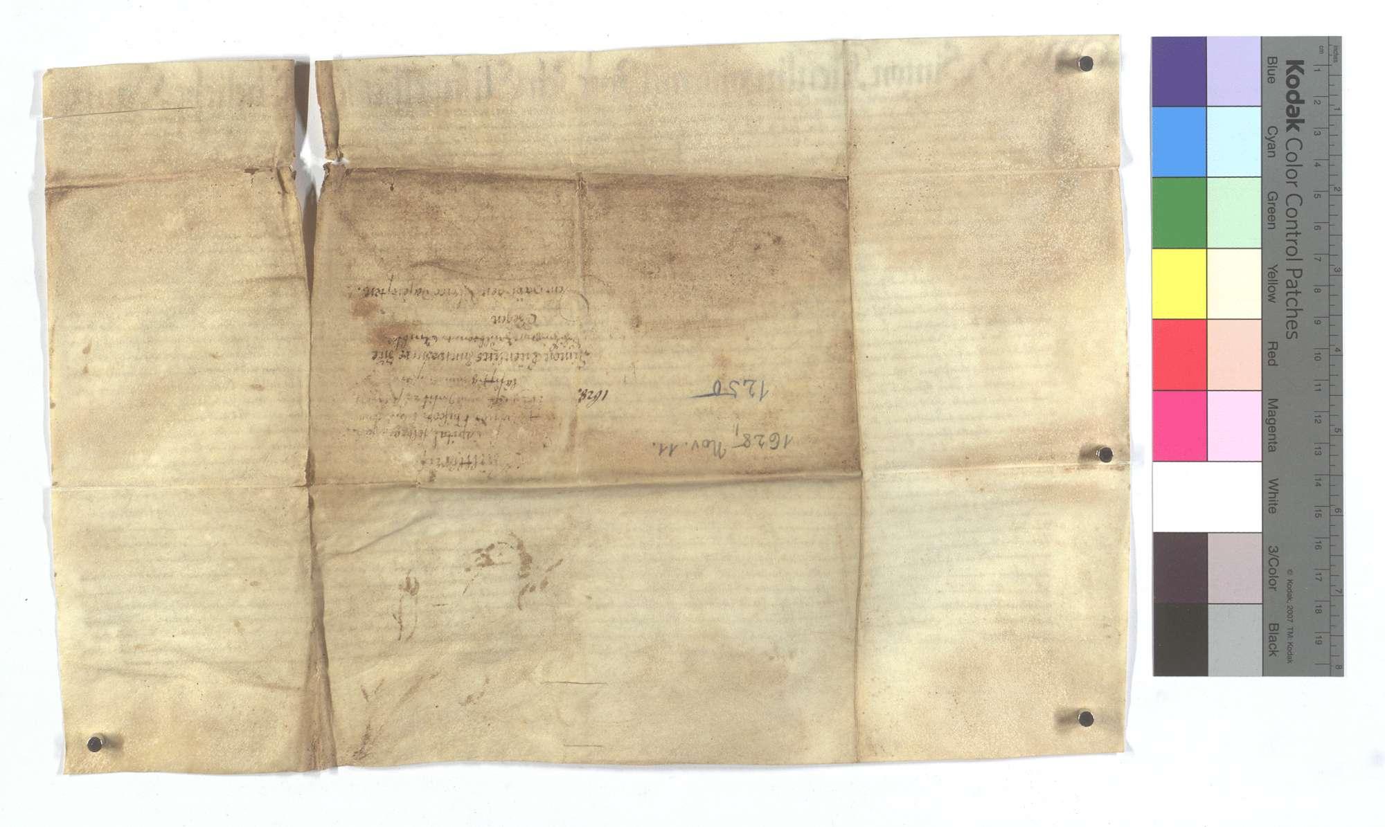 Verschreibung des Hans Kienlin und seiner Frau Elisabeth um 2 Gulden 30 Kreuzer auf Martini., Rückseite