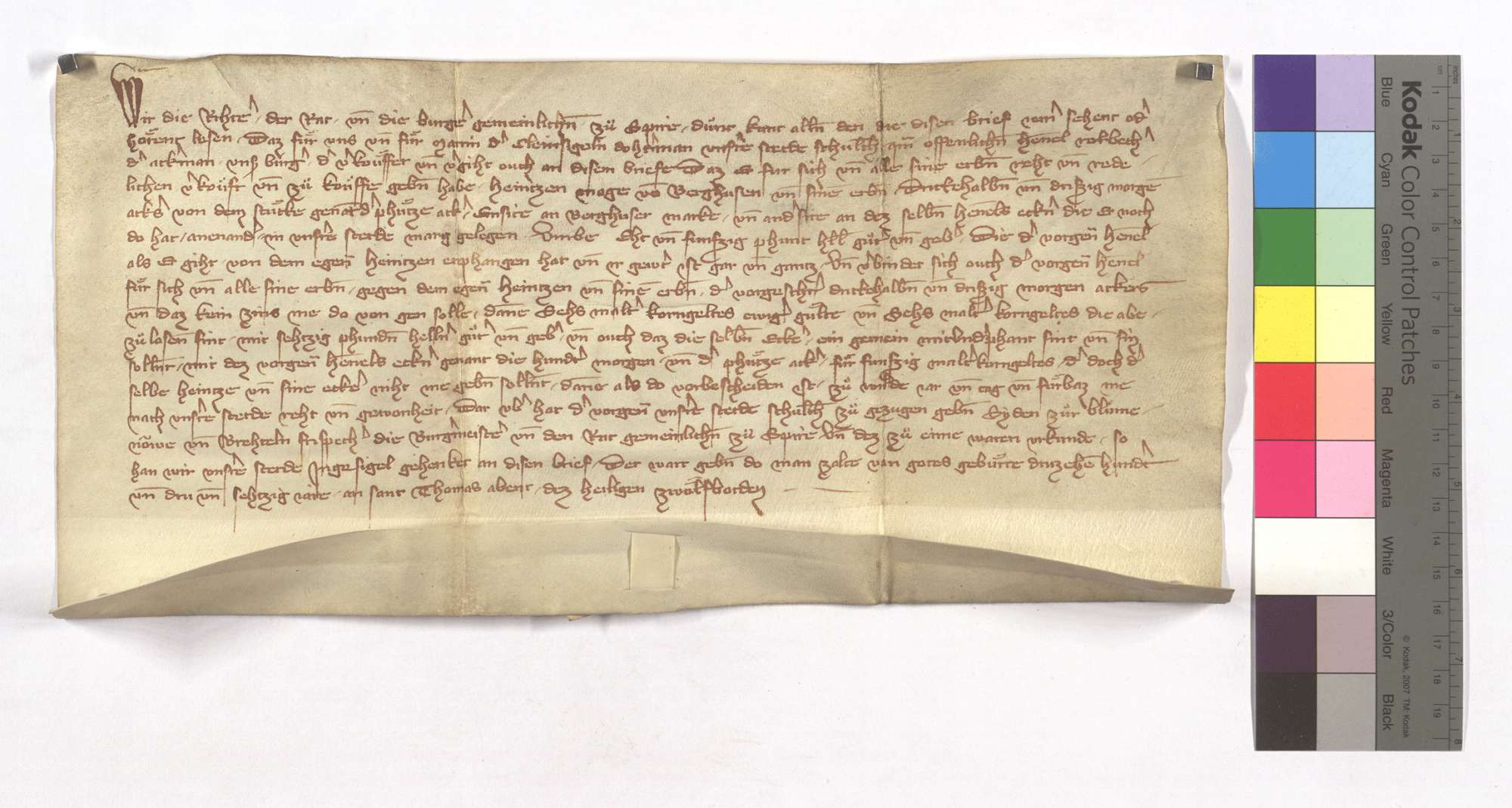 Hennel Rorbecher verkauft 32 1/2 Morgen Acker, der Pfitzeacker genannt, in Speyrer Markung an Heinz (Heintz) Magen von Berghausen., Text