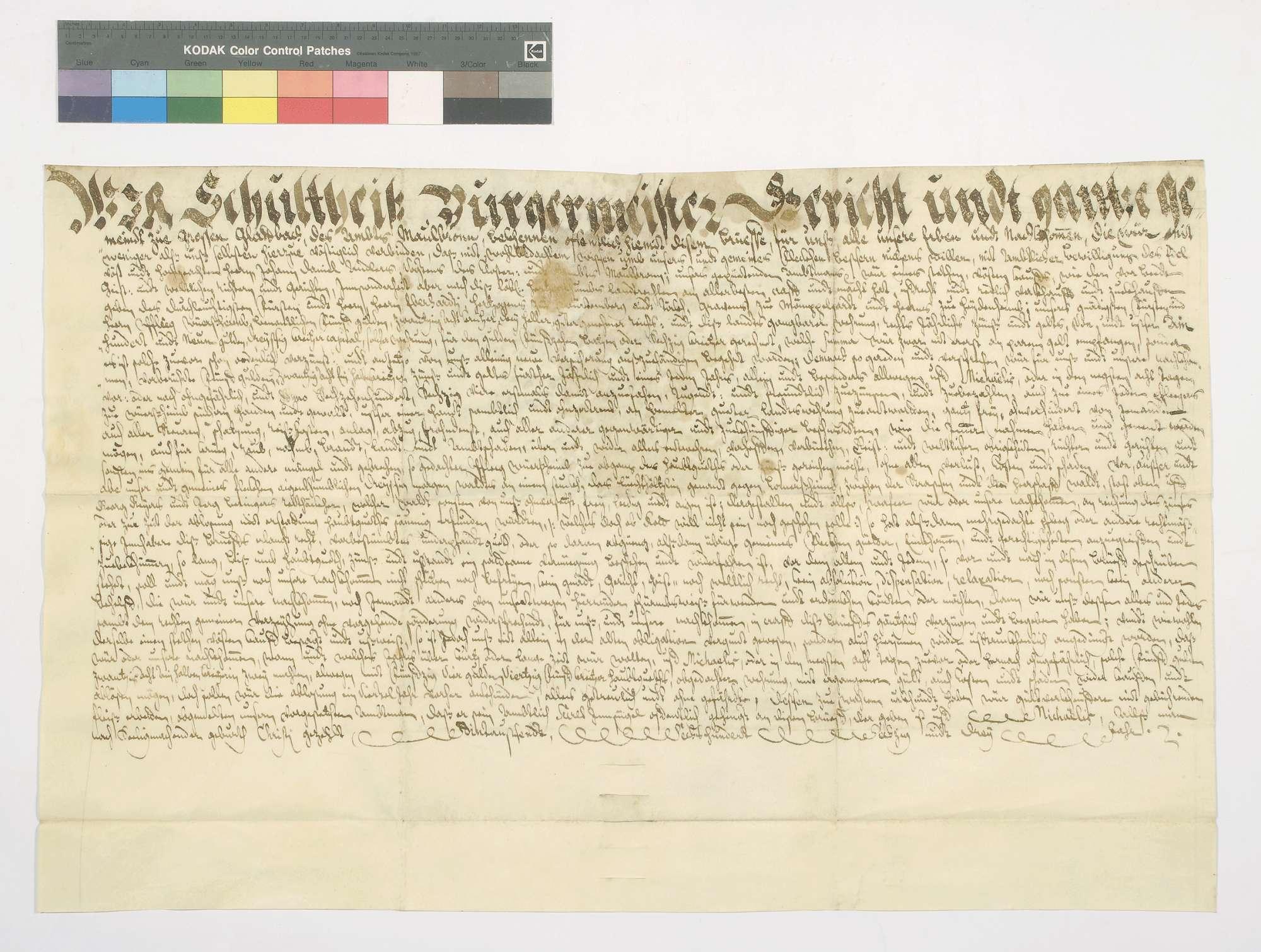 Schuldbrief der Gemeinde Glattbach für das herzogliche Amt Wiernsheim über 109 Gulden 30 Kreuzer Kapital, für welches der Gemeindewald Lüchthölzlein verpfändet wird., Bild 1