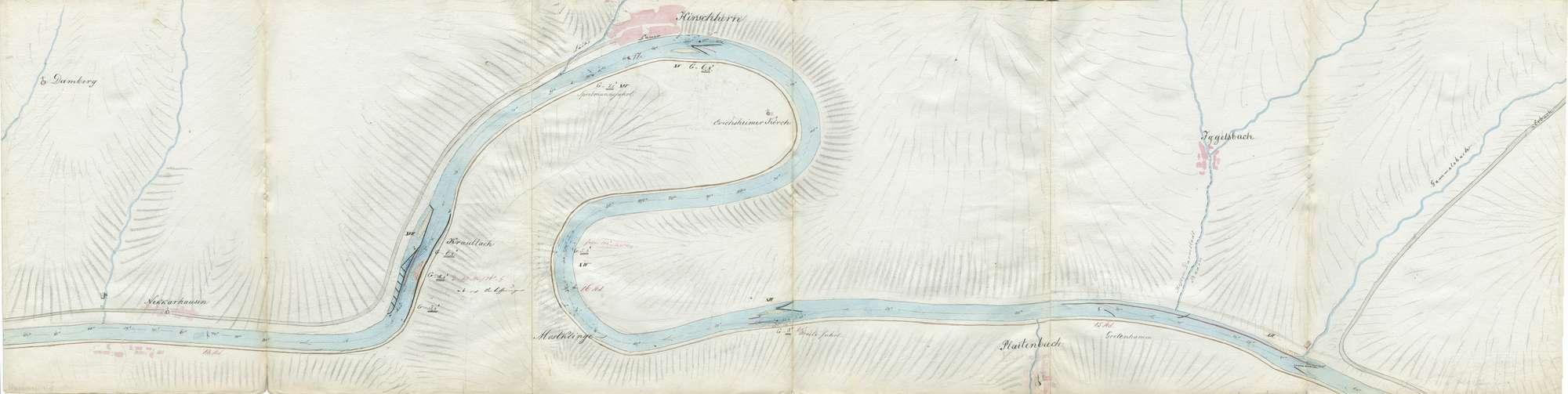 Karte über den Lauf des Neckars von Mannheim bis Heilbronn, Blatt III: Hirschhorn - Eberbach, Bild 1