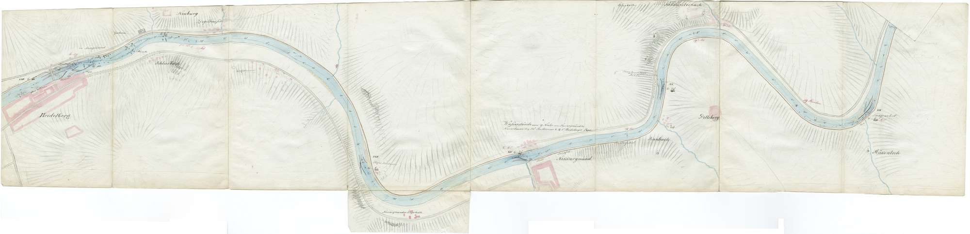 Karte über den Lauf des Neckars von Mannheim bis Heilbronn, Blatt IV: Heidelberg - Hirschhorn, Bild 1
