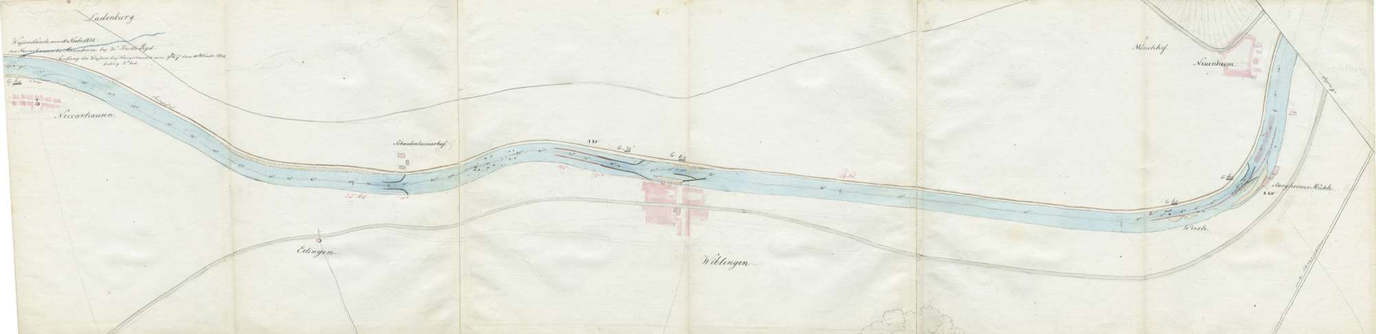 Karte über den Lauf des Neckars von Mannheim bis Heilbronn, Blatt V: Ladenburg - Heidelberg, Bild 1