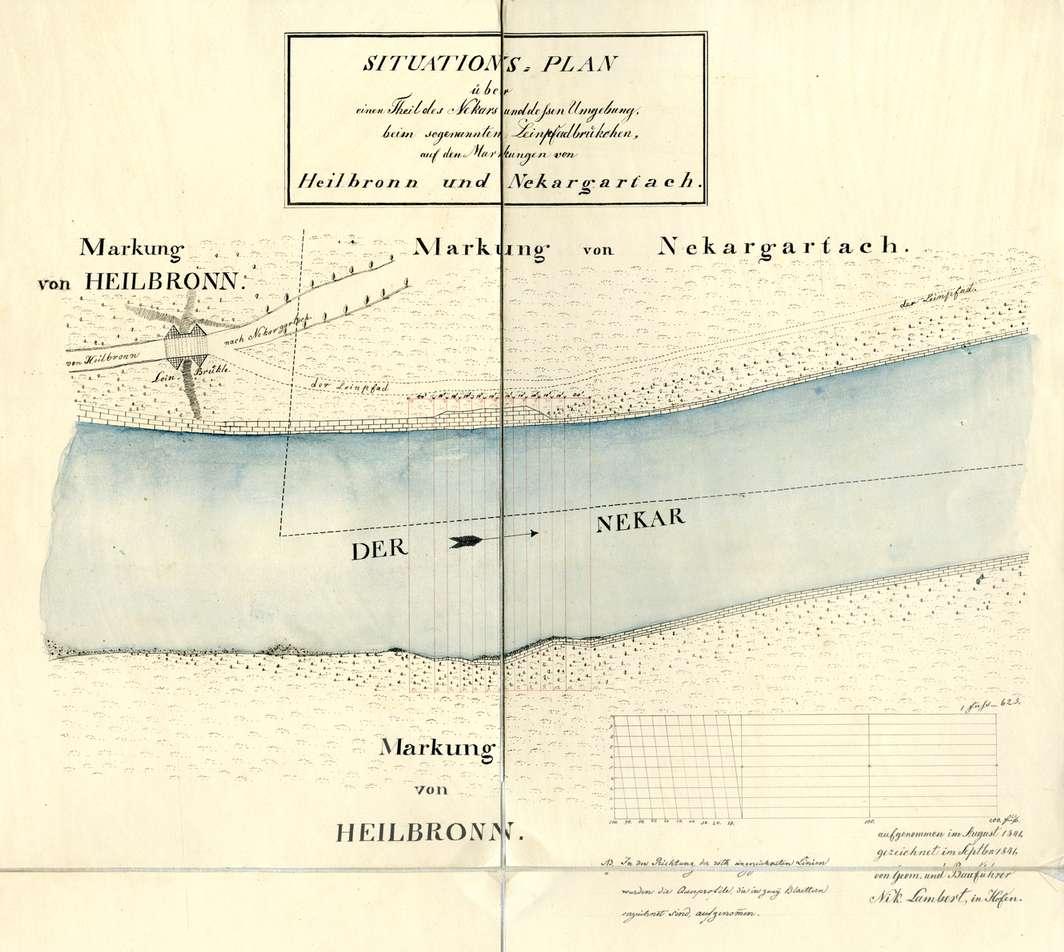 Situationsplan über einen Teil des Neckars und dessen Umgebung beim so genannten Leinbrückchen auf den Markungen von Heilbronn und Neckargartach, Bild 1