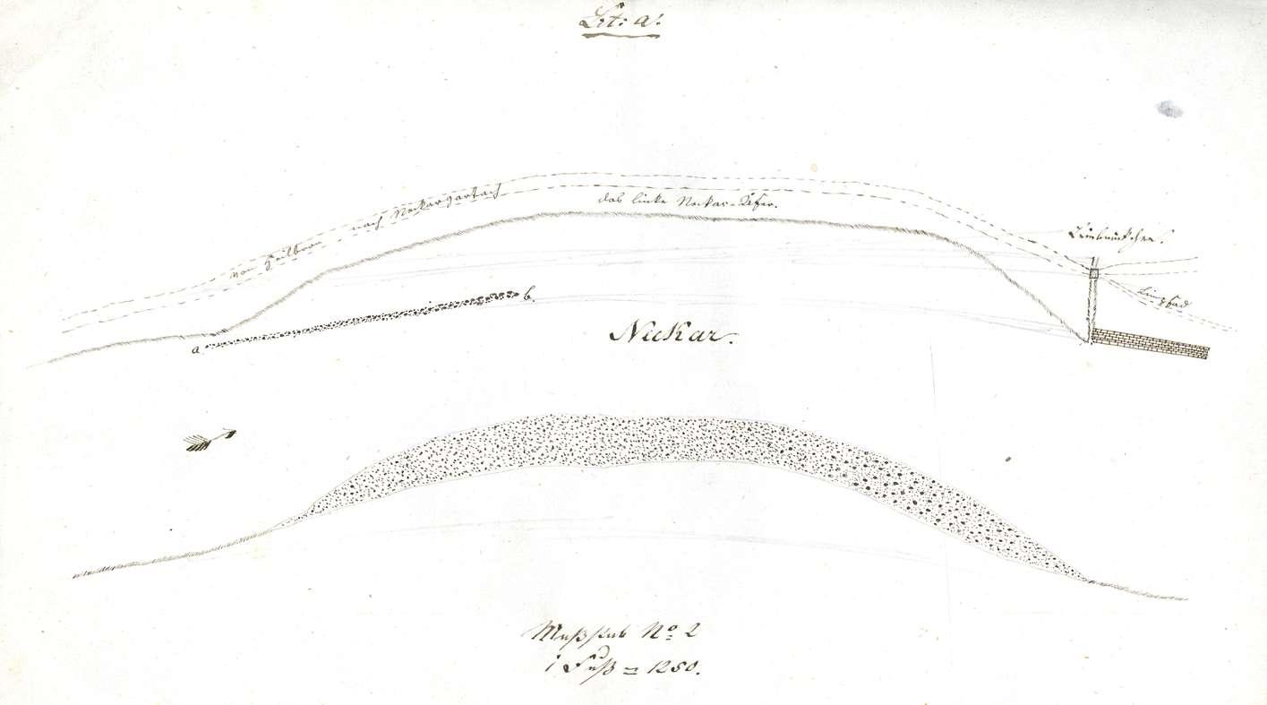 Querprofile des Neckarflusses, zunächst unterhalb des so genannten Leinbrückchens bei Heilbronn, Bild 1
