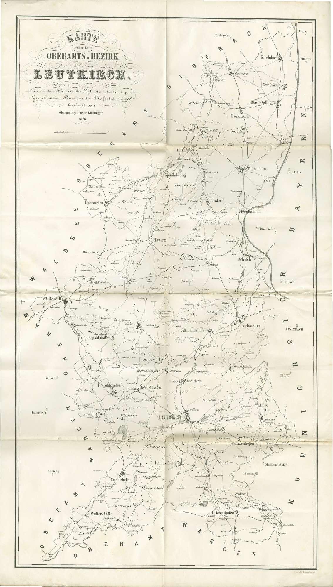 Karte über den Oberamtsbezirk Leutkirch, nach den Karten des Kgl. statistisch-topographischen Bureaus im Maßstab 1:50000 bearbeitet von Oberamtsgeometer Kluftinger, Bild 1