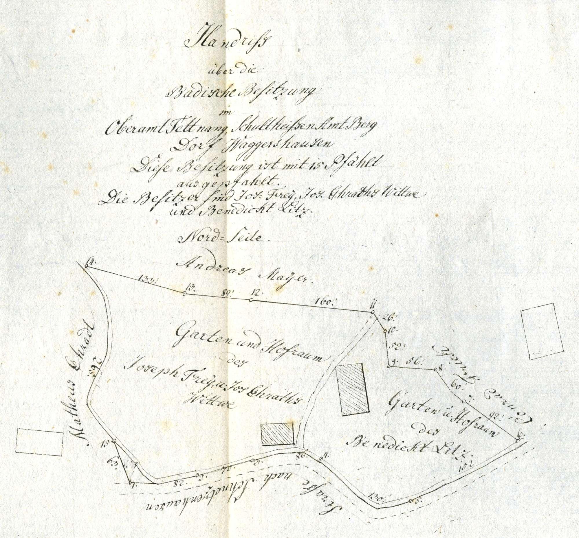 Vollzug des Staatsvertrags mit Baden vom 28. Juni 1843 zur Auflösung der Hoheitsgemeinschaft in den Orten Widdern (Landkreis Heilbronn) und Edelfingen (Main-Tauber-Kreis); Grenzberichtigung mit Baden, Bild 1