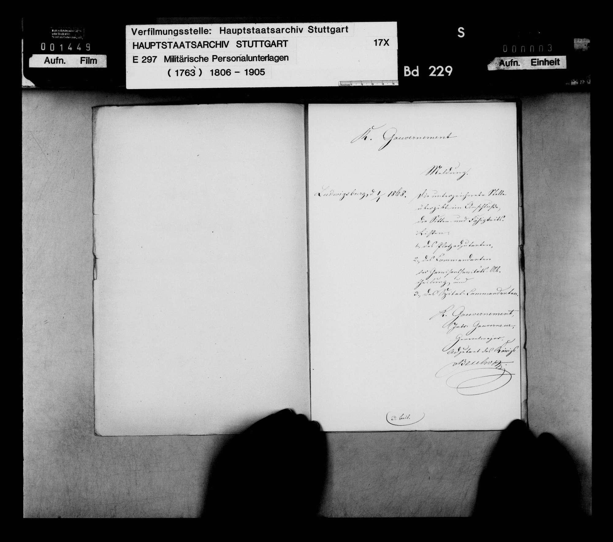 Sitten- und Fähigkeitslisten der Offiziere der Gouvernementsstäbe Ludwigsburg und Stuttgart sowie des Gouvernements Ulm, Bild 2