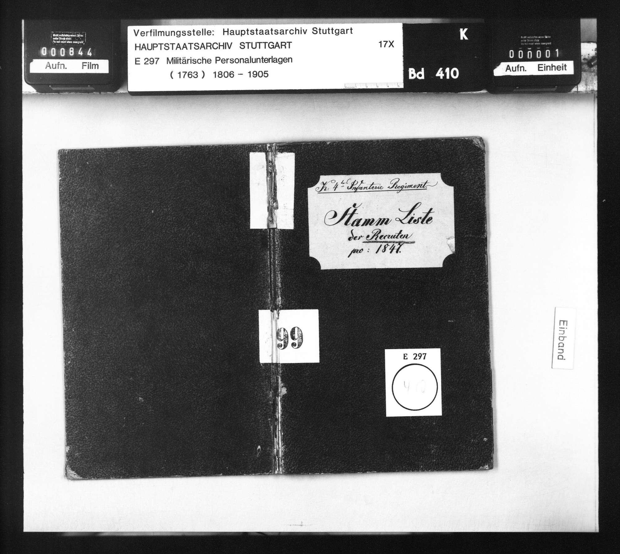 Stammliste der am 10. April 1847 beim 4. Infanterie-Regiment eingelieferten Rekruten, Bild 1