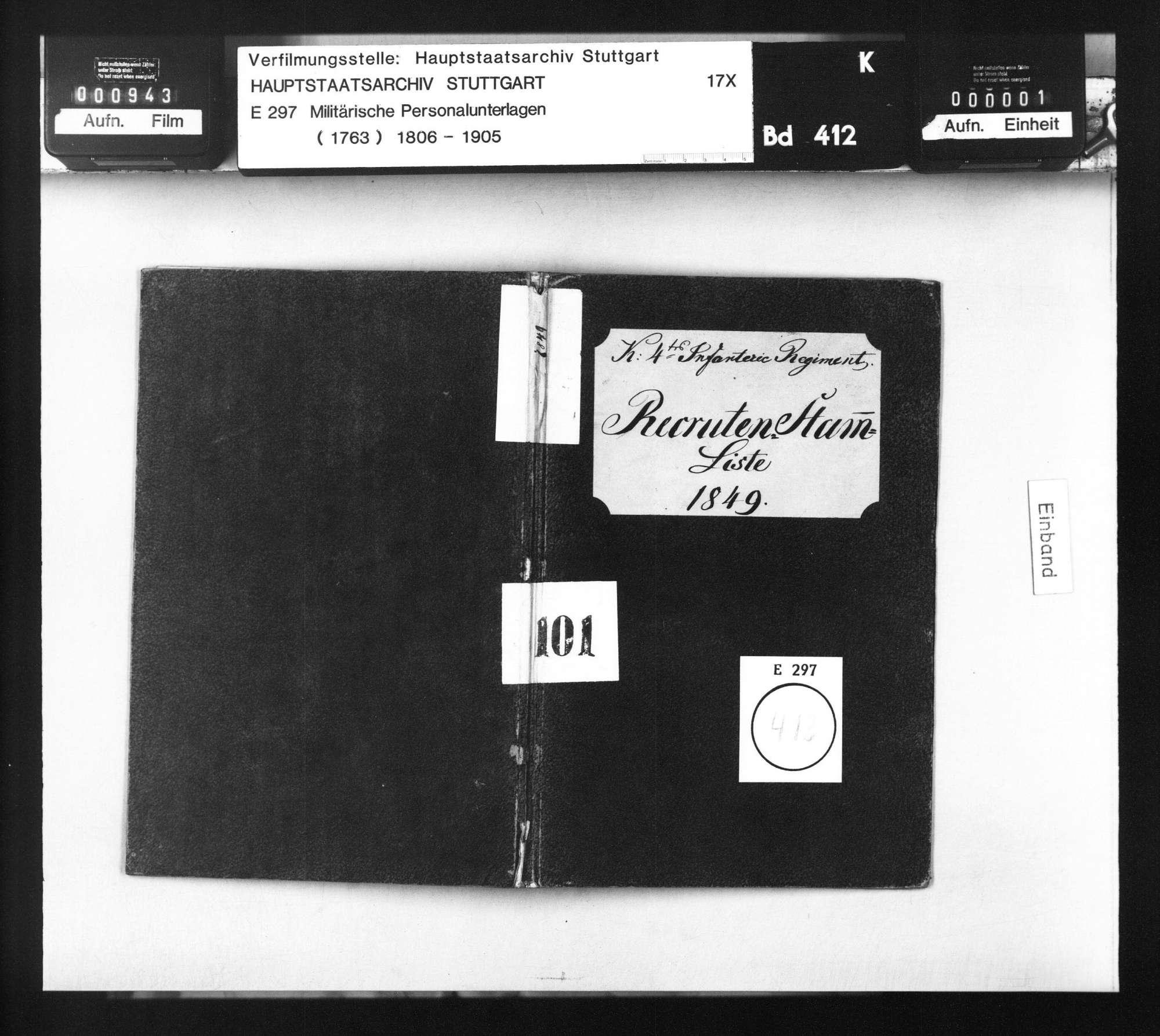Stammliste der am 1. April 1849 beim 4. Infanterie-Regiment eingelieferten Rekruten, Bild 1