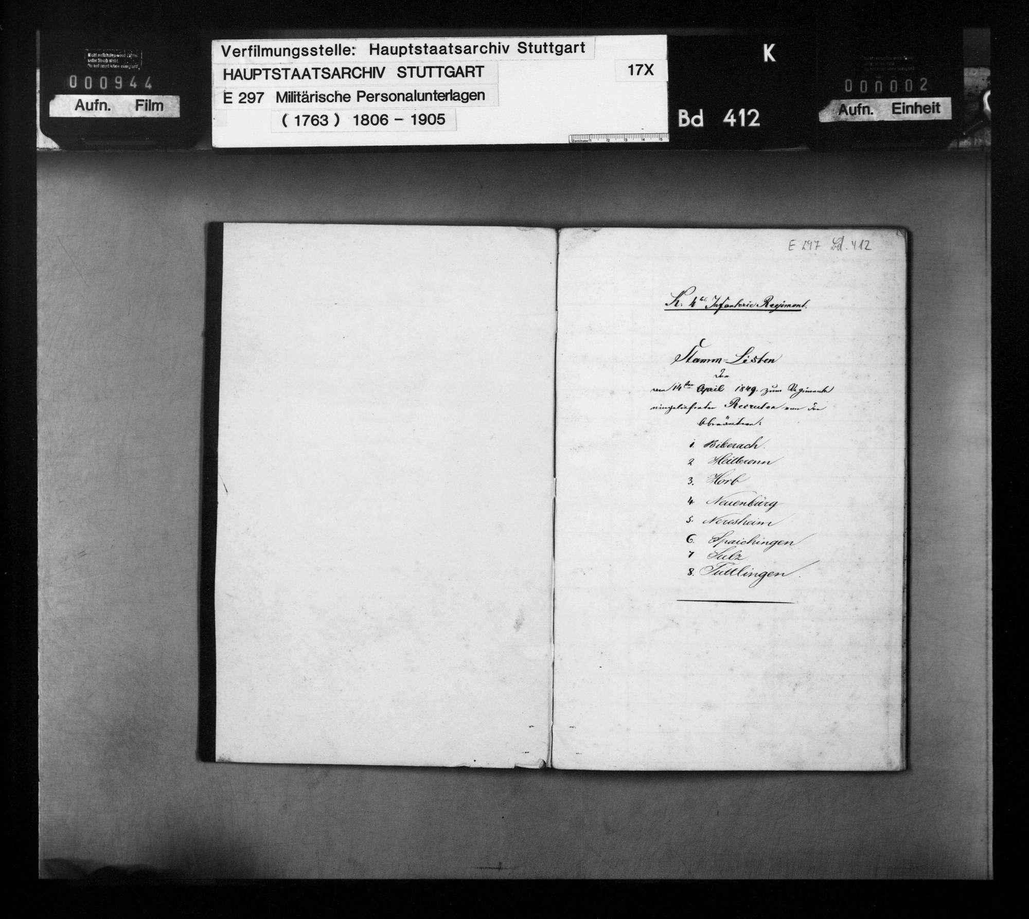 Stammliste der am 1. April 1849 beim 4. Infanterie-Regiment eingelieferten Rekruten, Bild 2