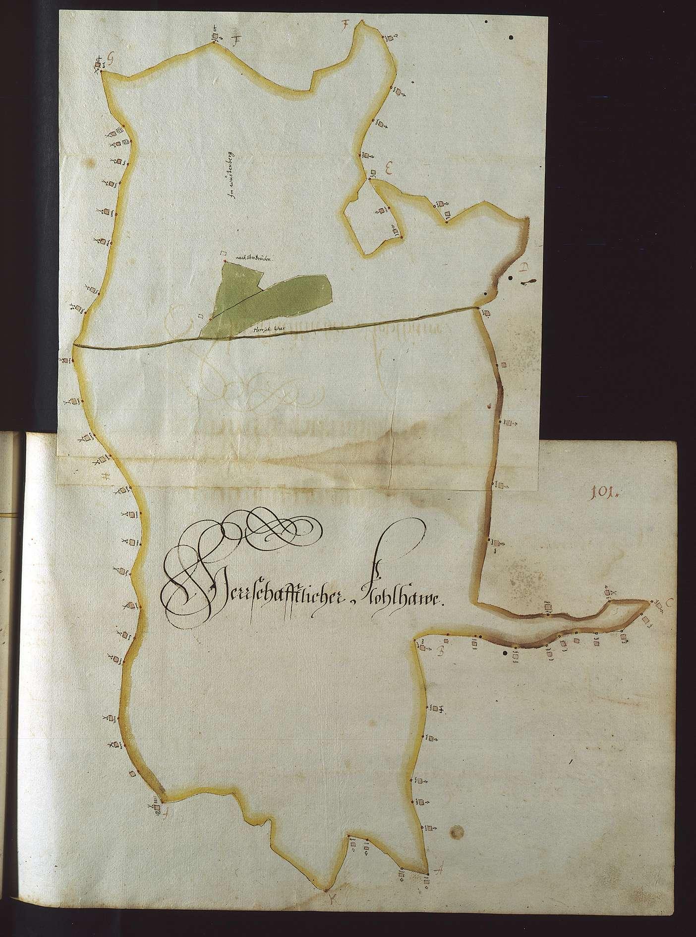 """""""Reichenberger Vorst. Erster Theil. 1685"""" (Deckelaufschrift). [Mess- und Rissbuch]., Bild 1"""