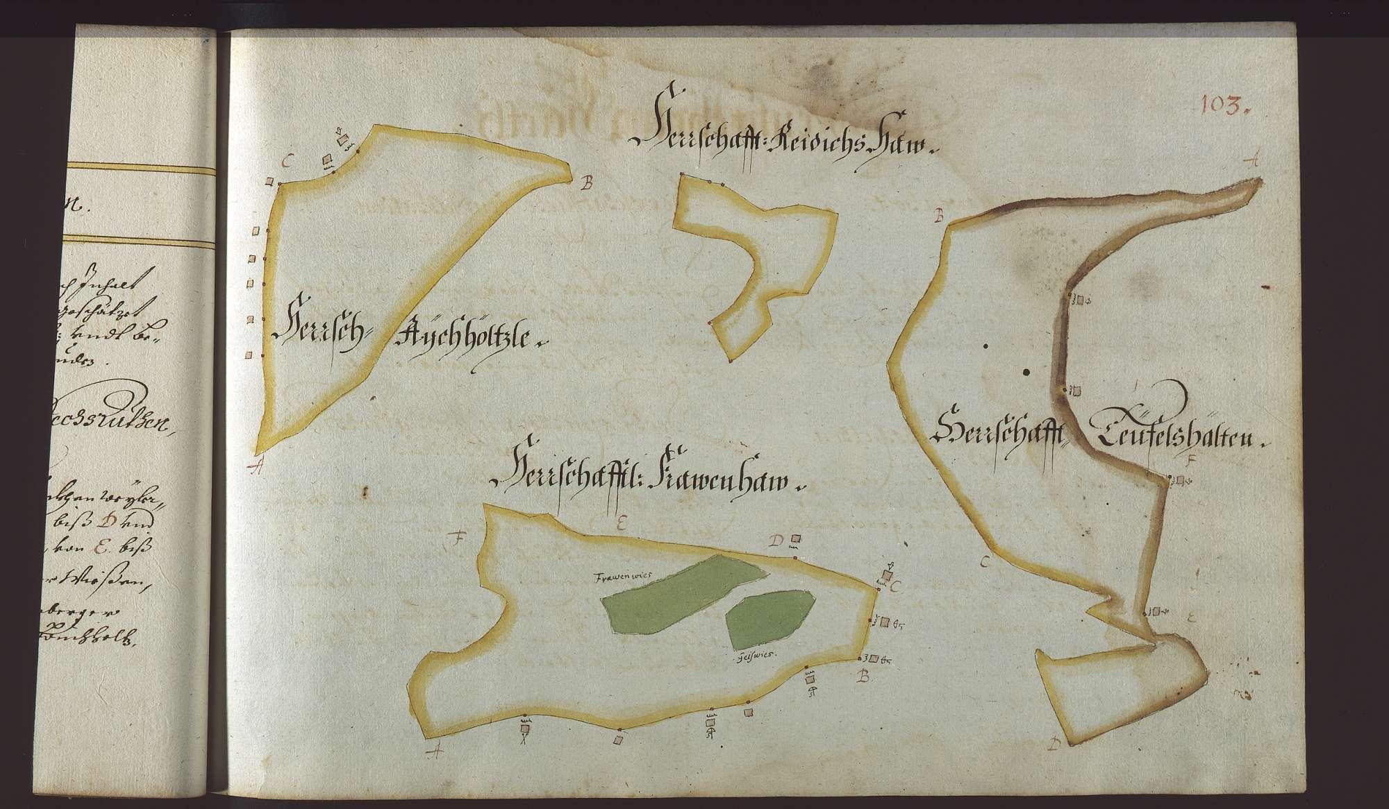 """""""Reichenberger Vorst. Erster Theil. 1685"""" (Deckelaufschrift). [Mess- und Rissbuch]., Bild 2"""