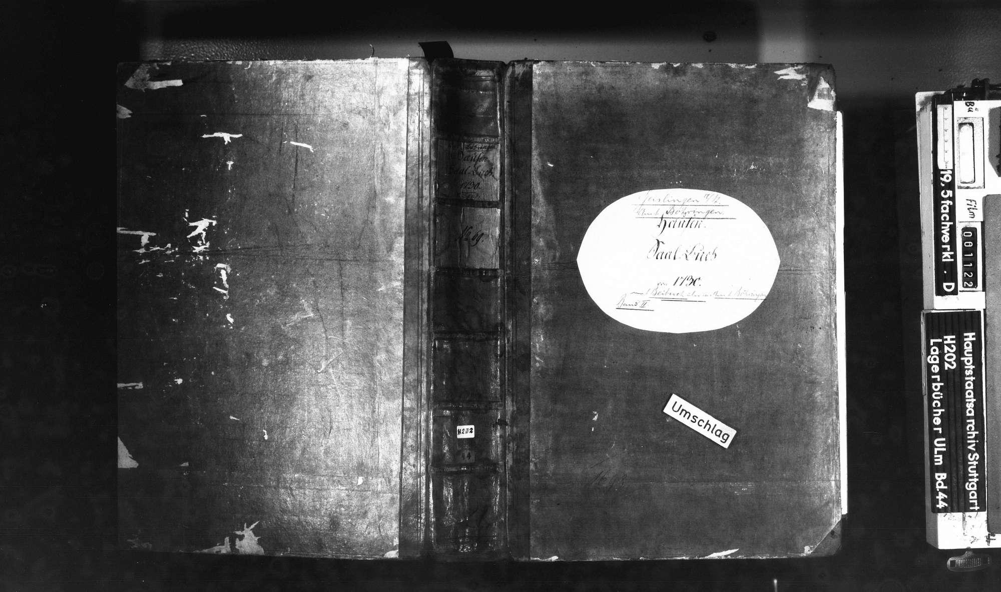 Saalbuch Hausen an der Fils mit Beibuch über das Amt Böhringen 2. Bd, Bild 1