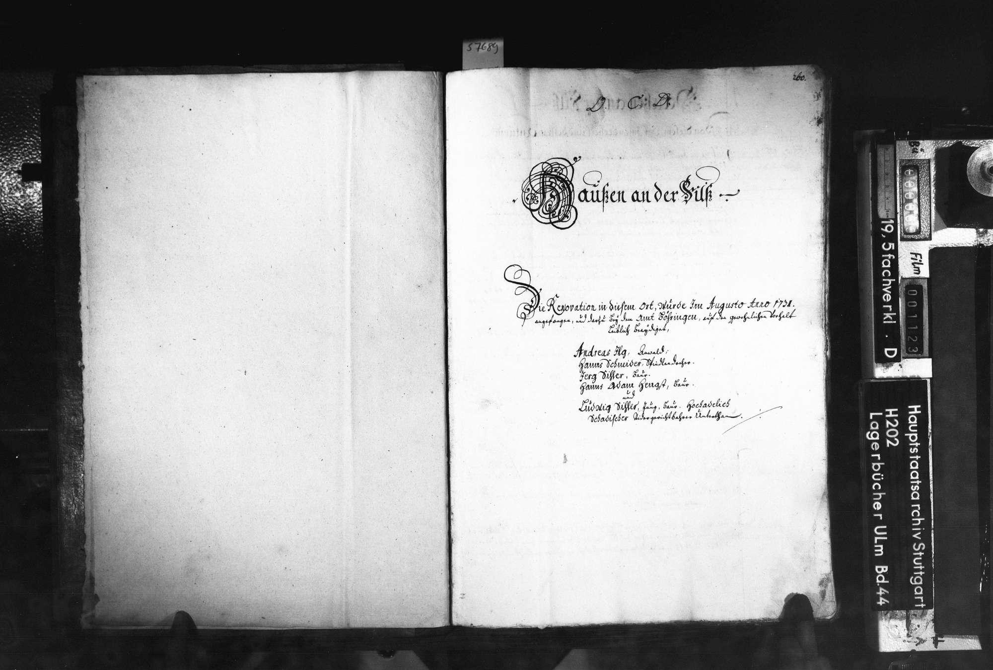 Saalbuch Hausen an der Fils mit Beibuch über das Amt Böhringen 2. Bd, Bild 2