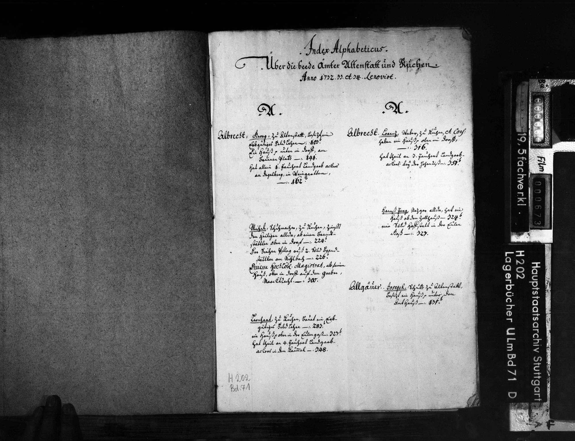 Amt Altenstadt und Kuchen: Register, Bild 3