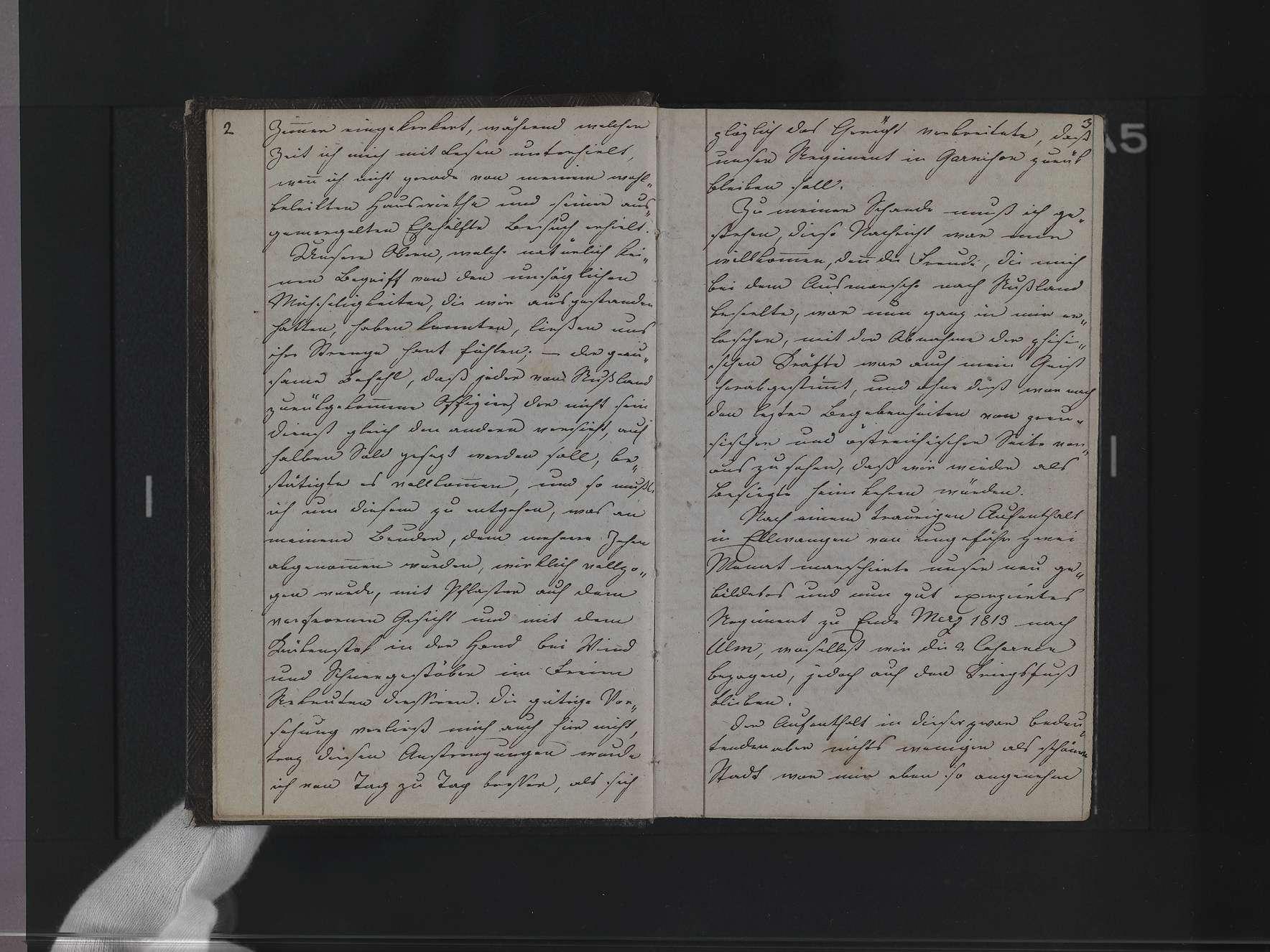 """Band 3: """"Christian v(on) Martens. Lieutenant beim 6. Linien-Infanterie-Regiment, Tagebuch meines Fedlzuges gegen Preußen 1813"""", Bild 3"""