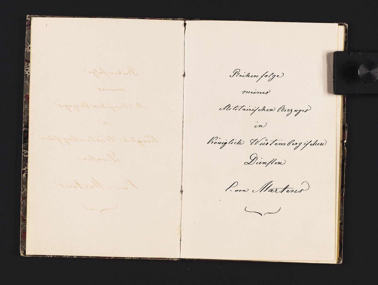 """""""Christian von Martens: Reihenfolge meines militärischen Anzuges in Königlich Württembergischen Diensten."""", Bild 1"""
